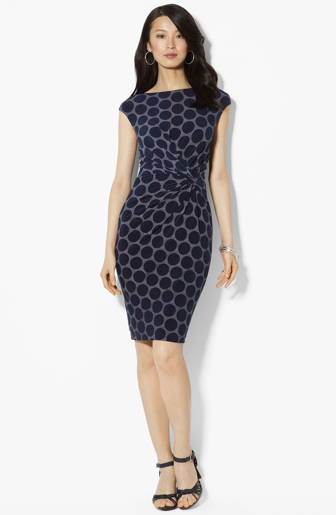 Main Image - Lauren Ralph Lauren Polka Dot Matte Jersey Dress