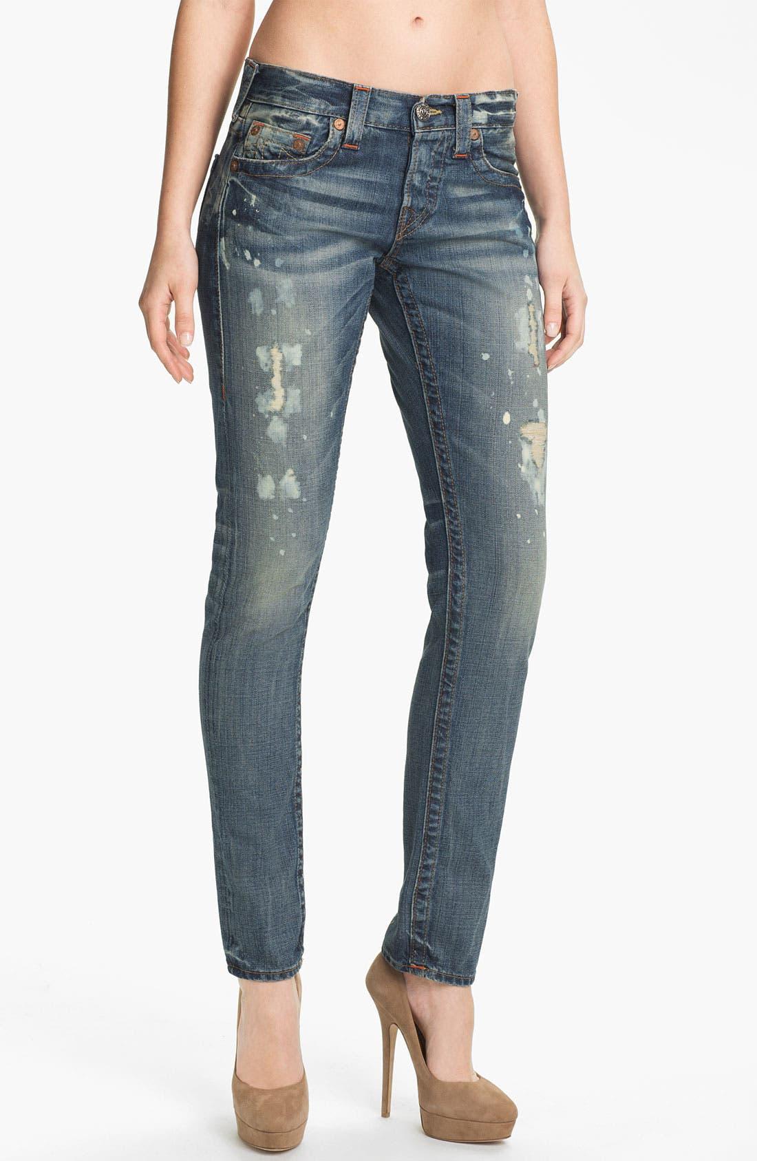 Alternate Image 1 Selected - True Religion Brand Jeans 'Brianna' Boyfriend Jeans (Black Water)