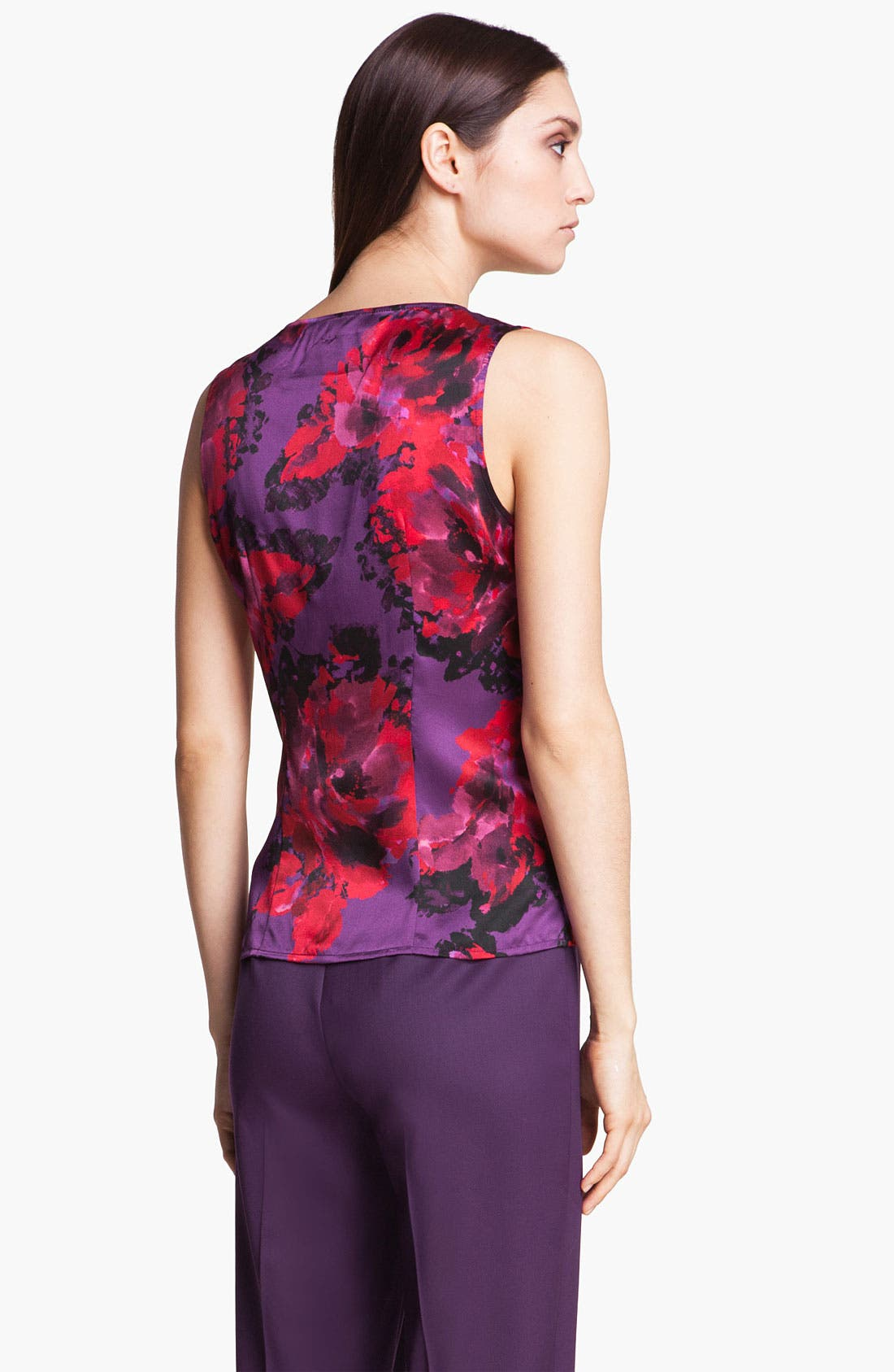 Alternate Image 4  - St. John Collection Rose Print V-Neck Silk Shell