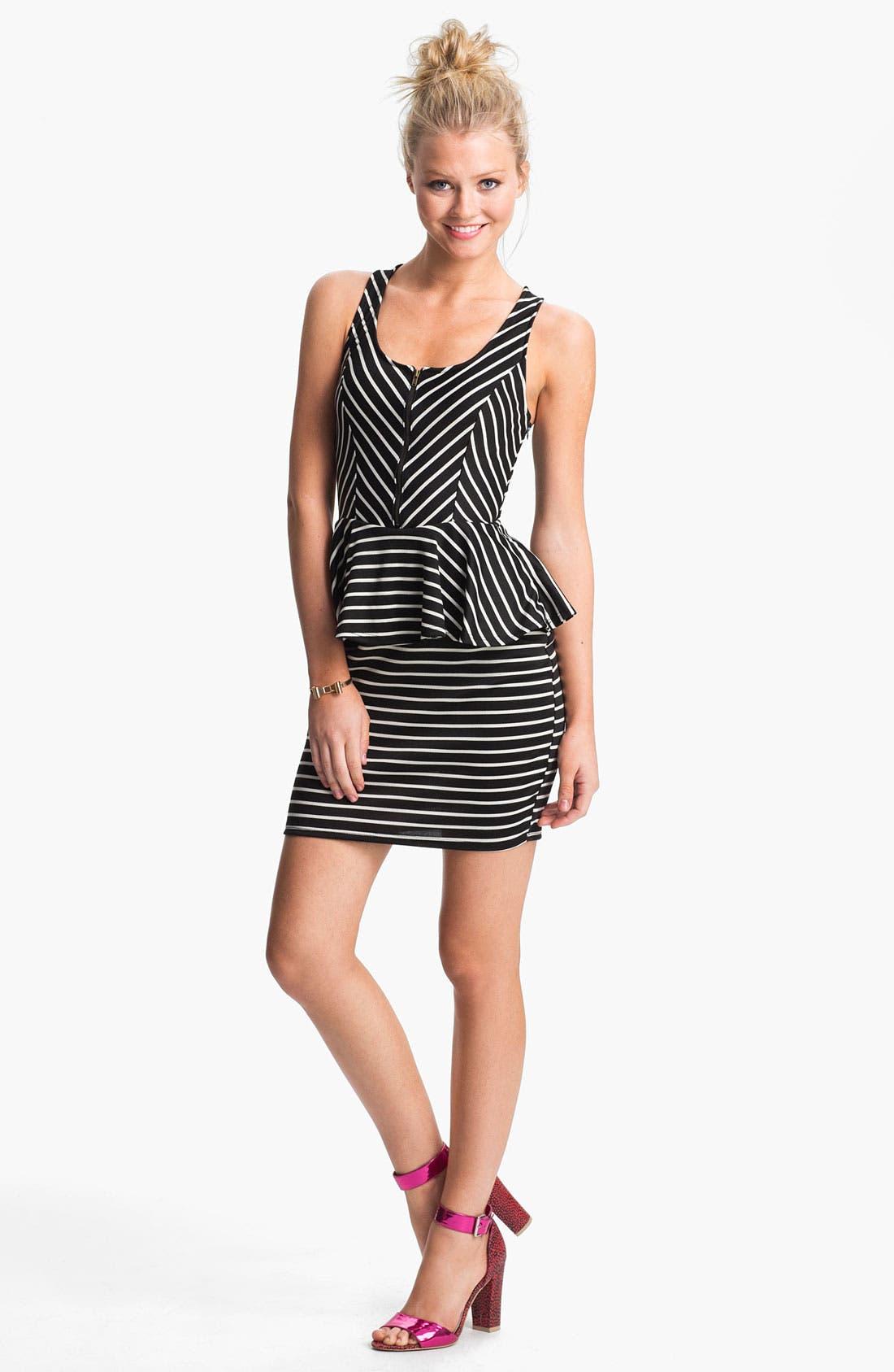 Alternate Image 1 Selected - Lush Cutout Striped Peplum Dress (Juniors)