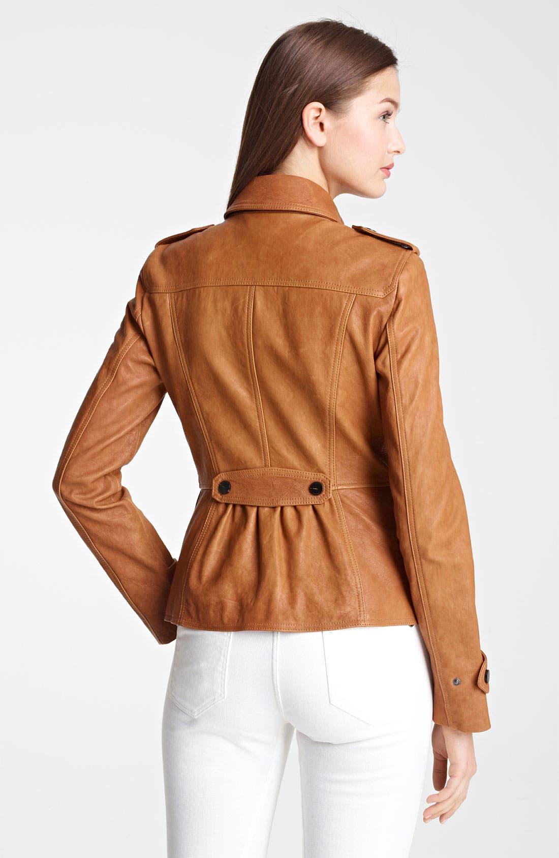 Alternate Image 2  - Burberry London Leather Jacket