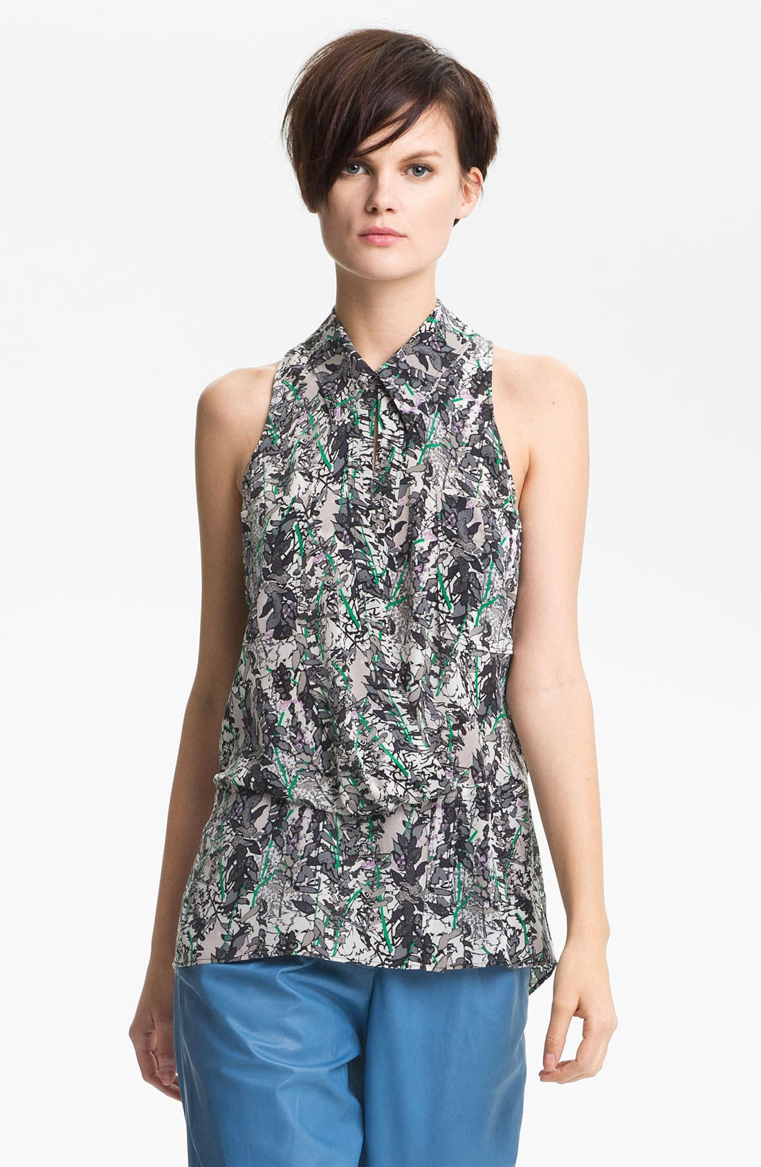 Main Image - Tracy Reese Leaf Print Silk Shirt
