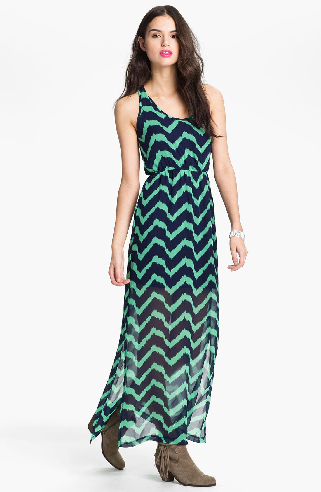 Main Image - dee elle Keyhole Back Print Chiffon Maxi Dress (Juniors)