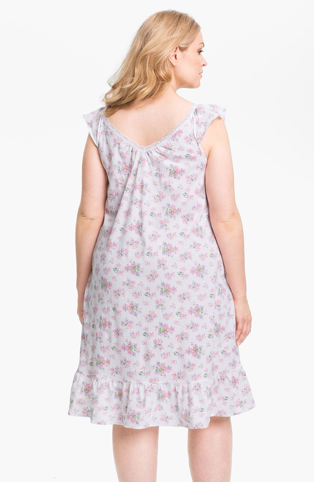 Alternate Image 2  - Lauren Ralph Lauren Sleepwear Short Ruffle Nightgown (Plus)