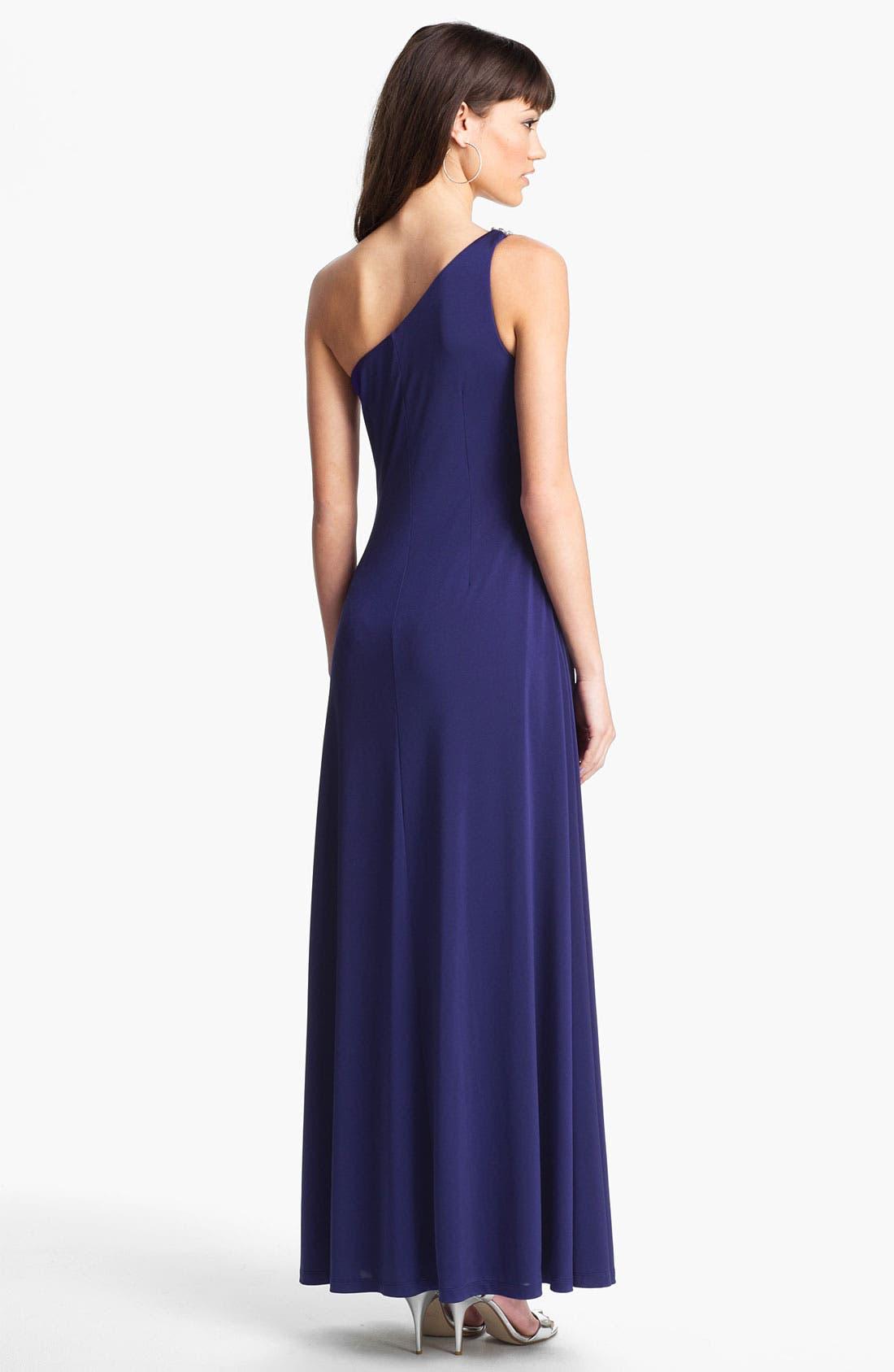Alternate Image 2  - Calvin Klein Embellished One Shoulder Gown