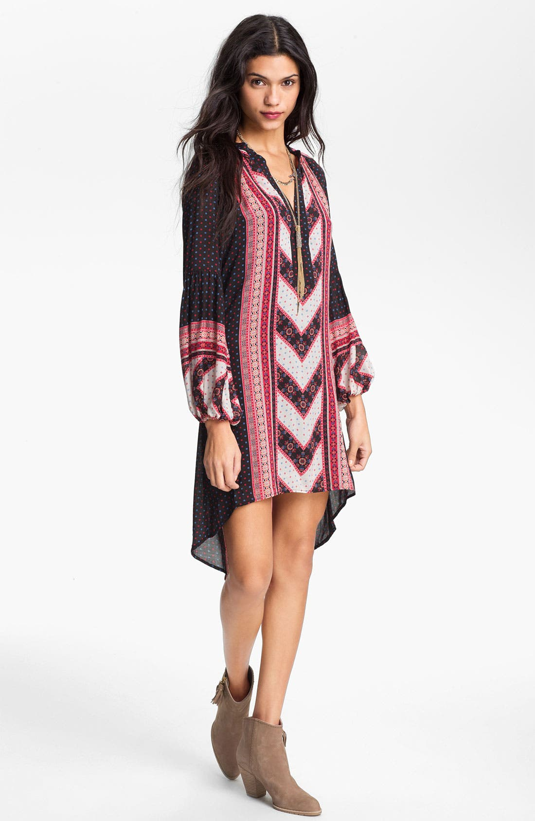 Main Image - Free People 'Peacemaker' Mix Print Peasant Dress