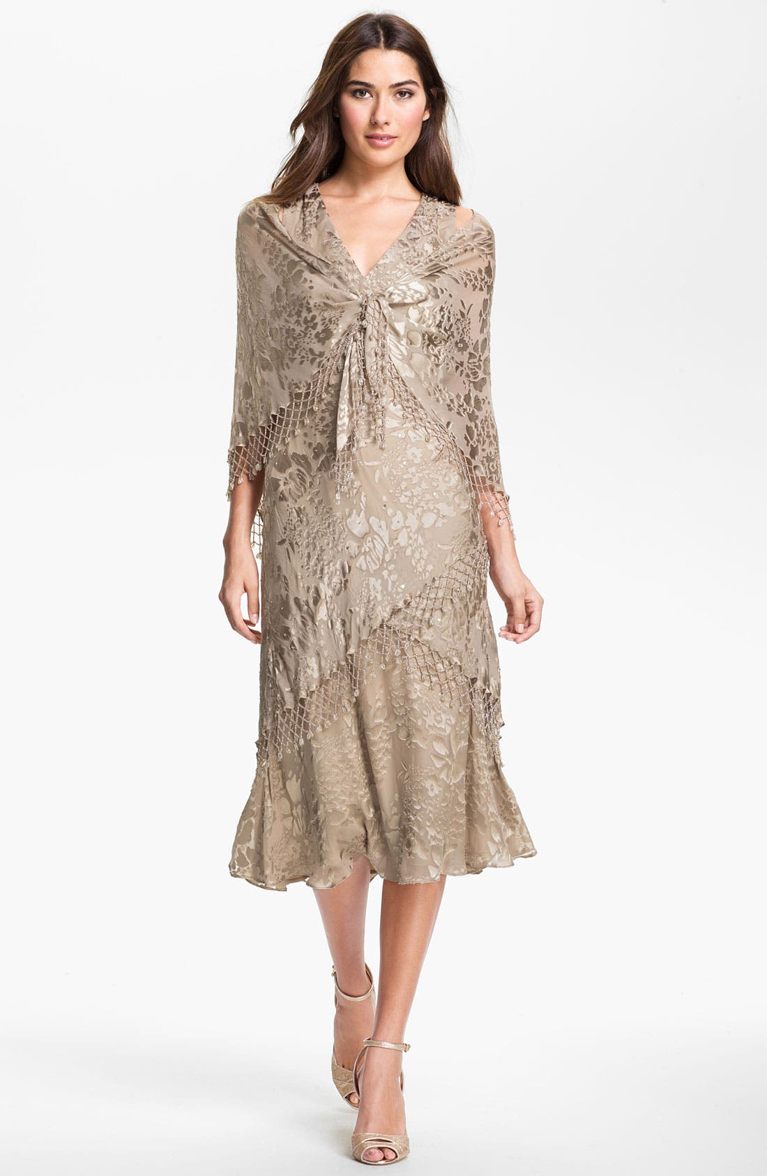 Main Image - Alex Evenings Lattice Trim Burnout Chiffon Sheath Dress