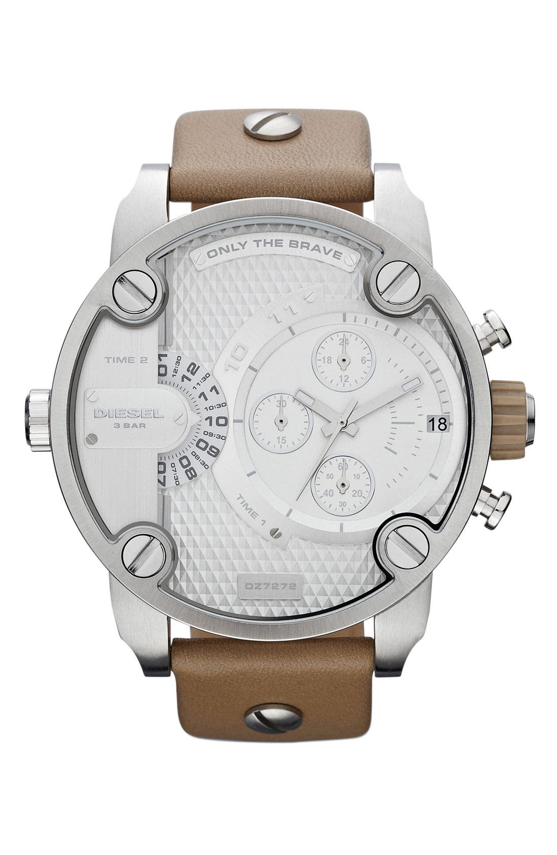 Main Image - DIESEL® 'Little Daddy' Large Leather Strap Watch, 51mm