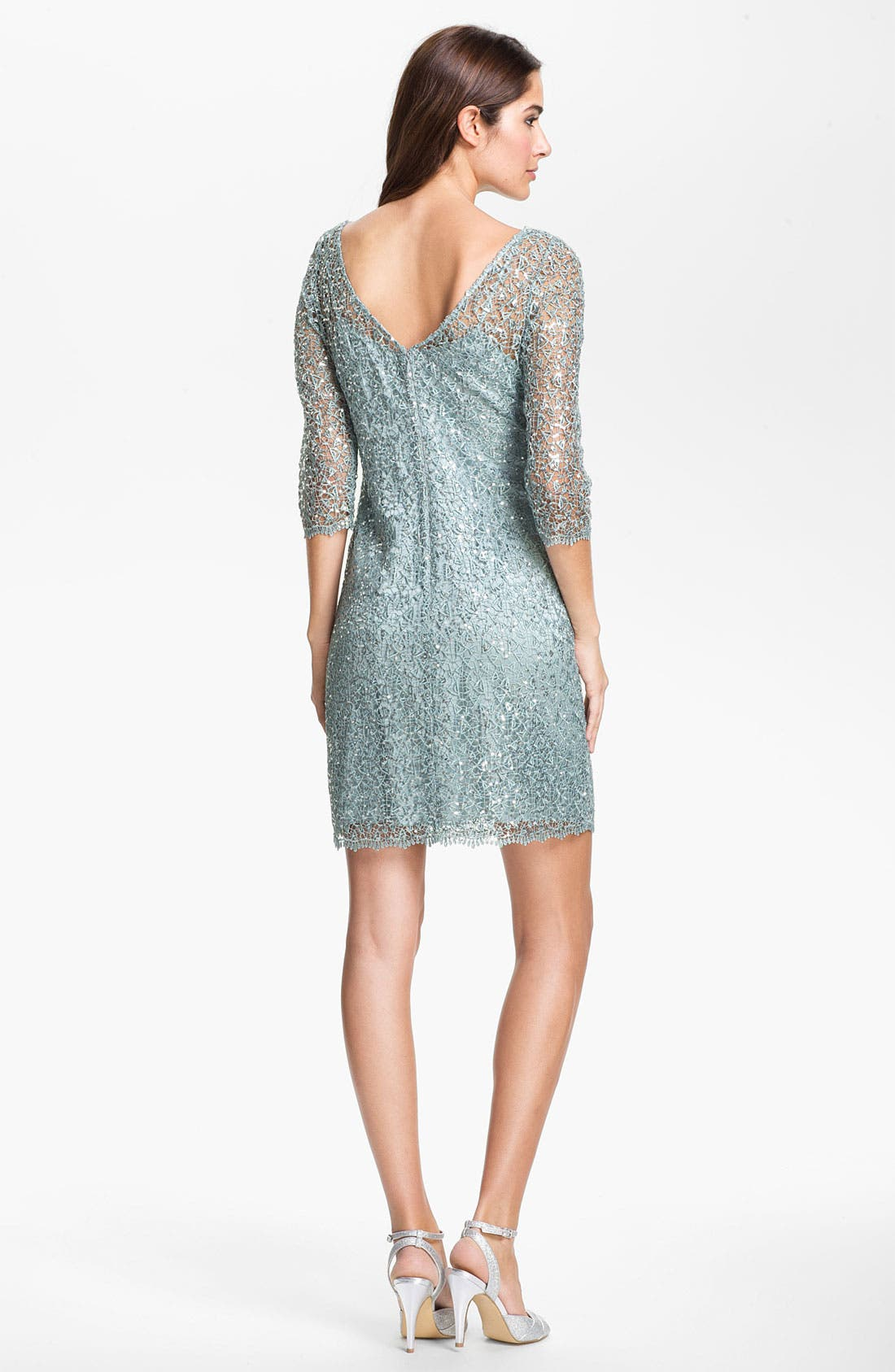 Alternate Image 2  - Kay Unger Metallic Lace Sheath Dress