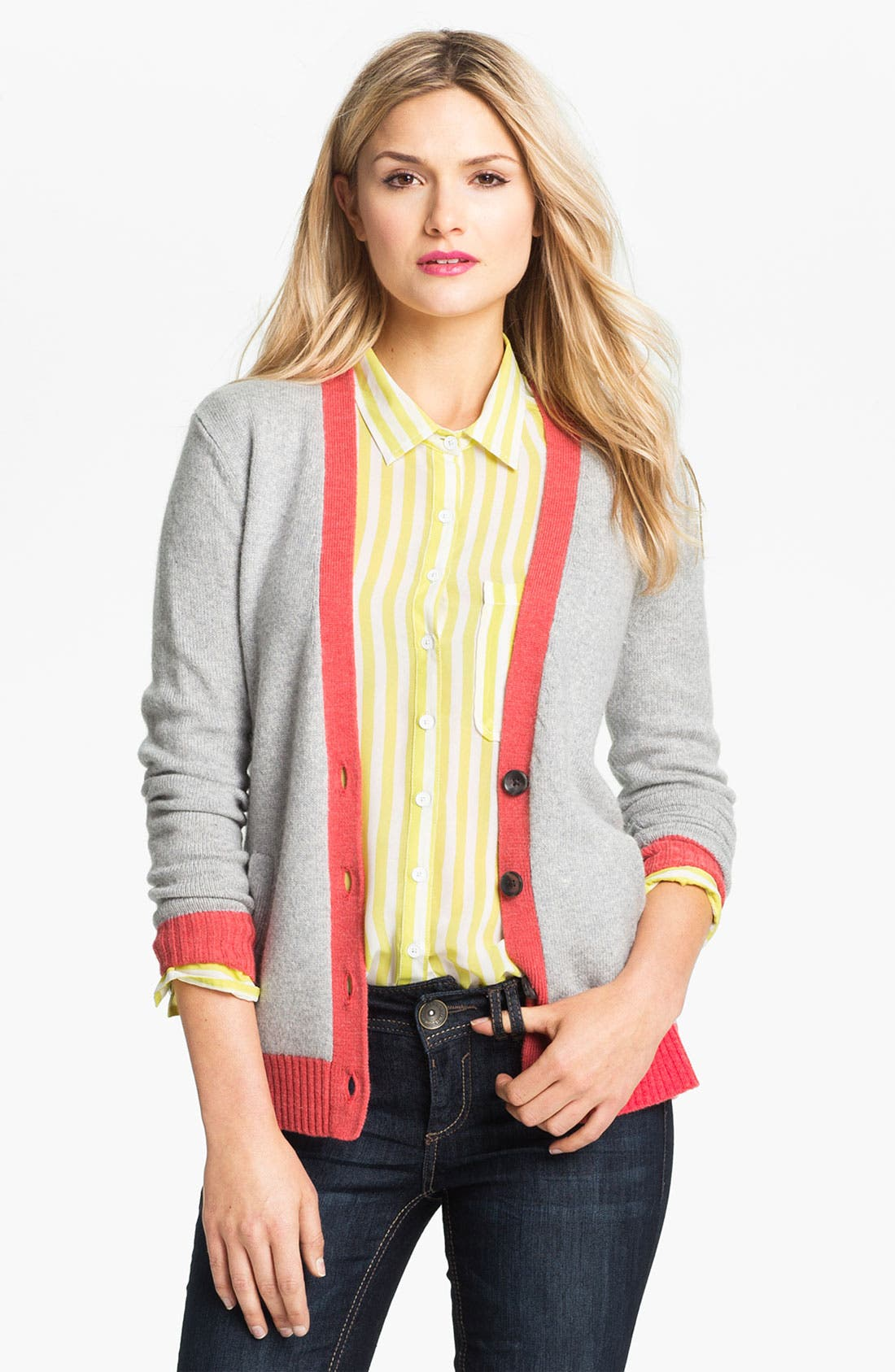 Alternate Image 1 Selected - Caslon Tipped V-Neck Cardigan (Petite)