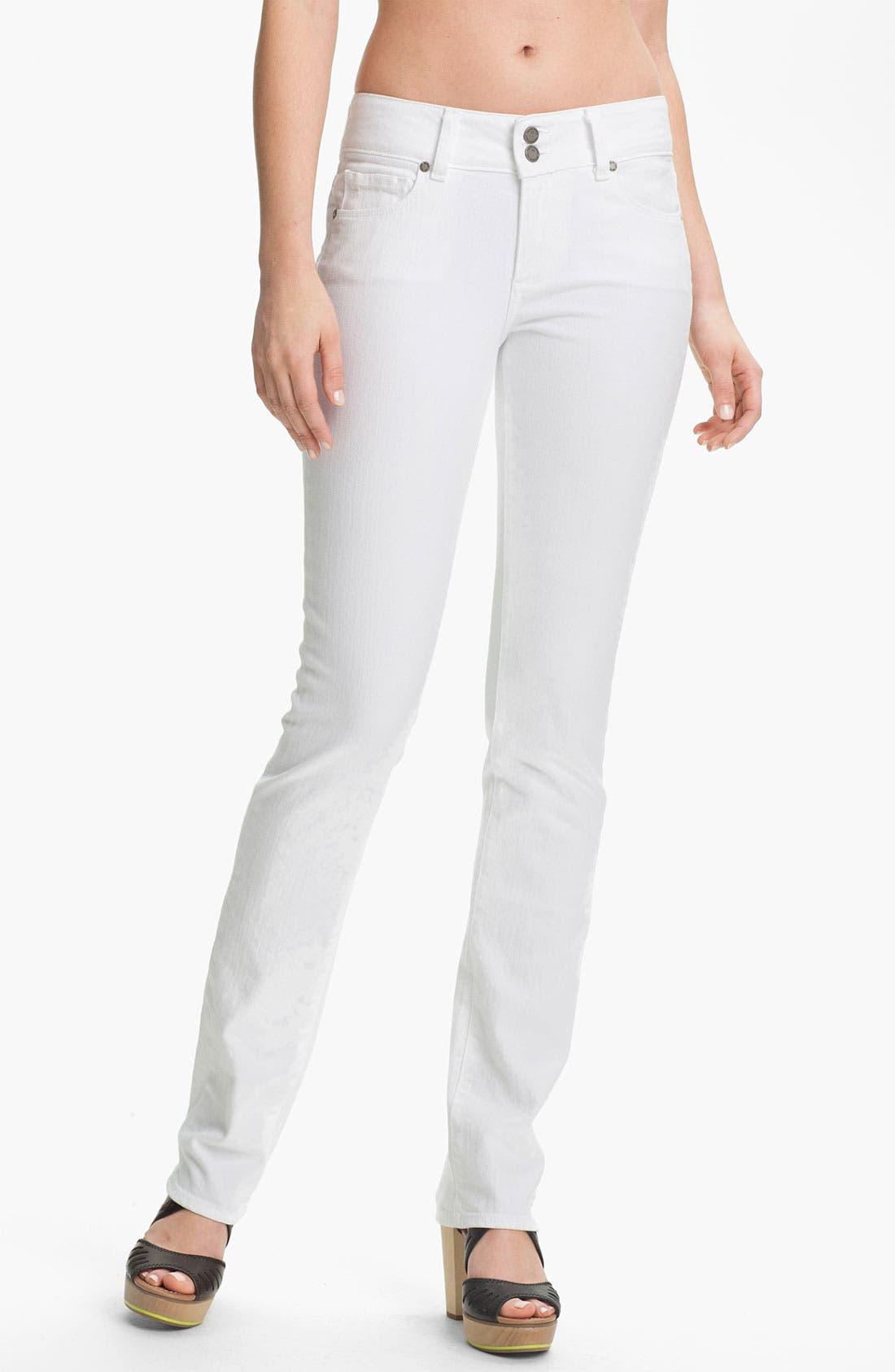 Main Image - Paige Denim 'Hidden Hills' Straight Leg Stretch Jeans (Optic White)