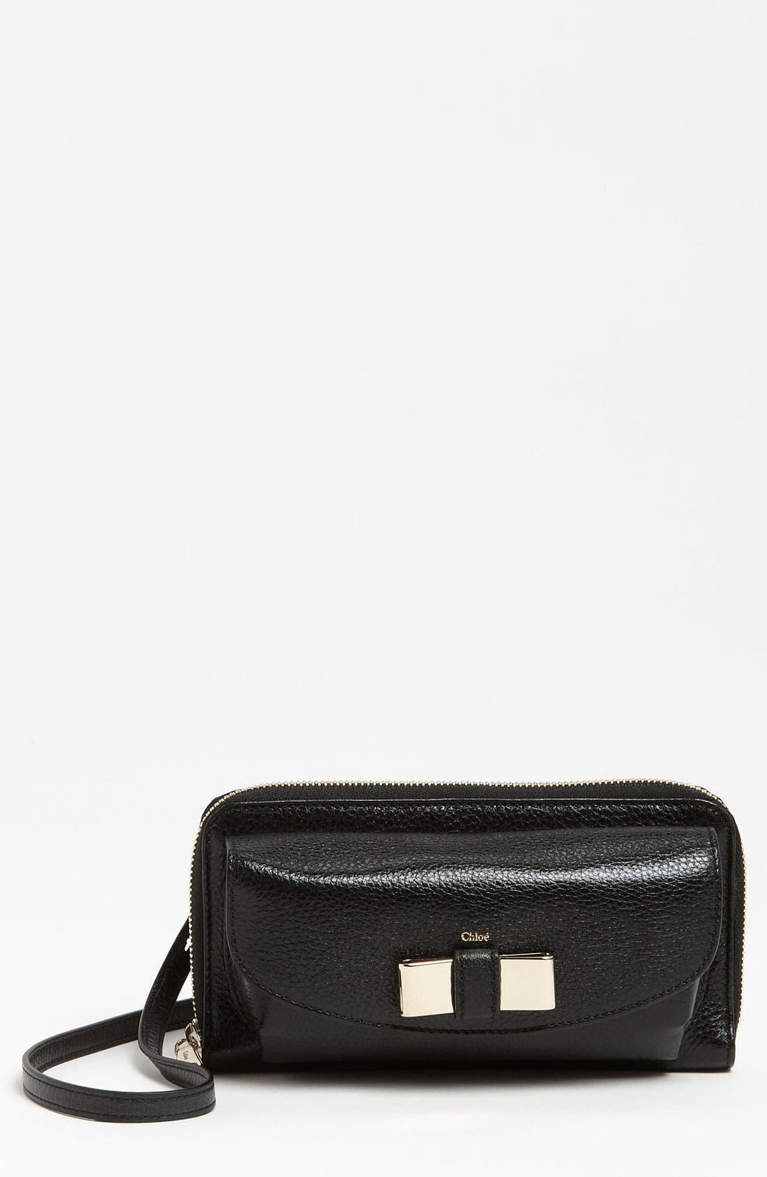 Alternate Image 1 Selected - Chloé 'Lily - Long' Sunglasses Case & Crossbody Wallet