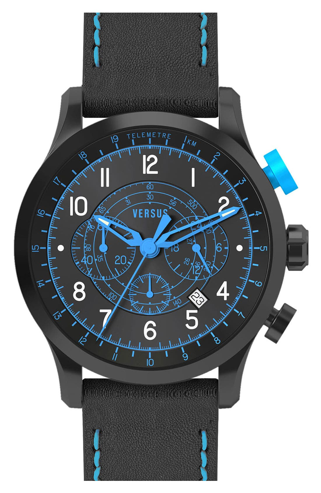Alternate Image 1 Selected - VERSUS by Versace 'Soho' Leather Strap Watch, 44mm