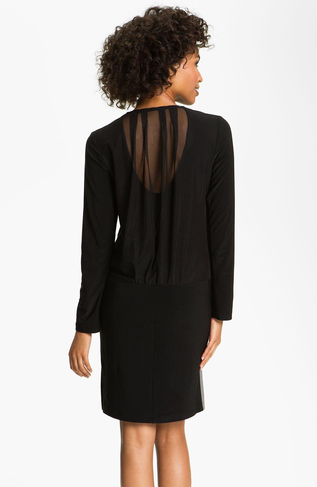 Alternate Image 2  - Alex & Ava Surplice Mesh & Jersey Dress (Petite)