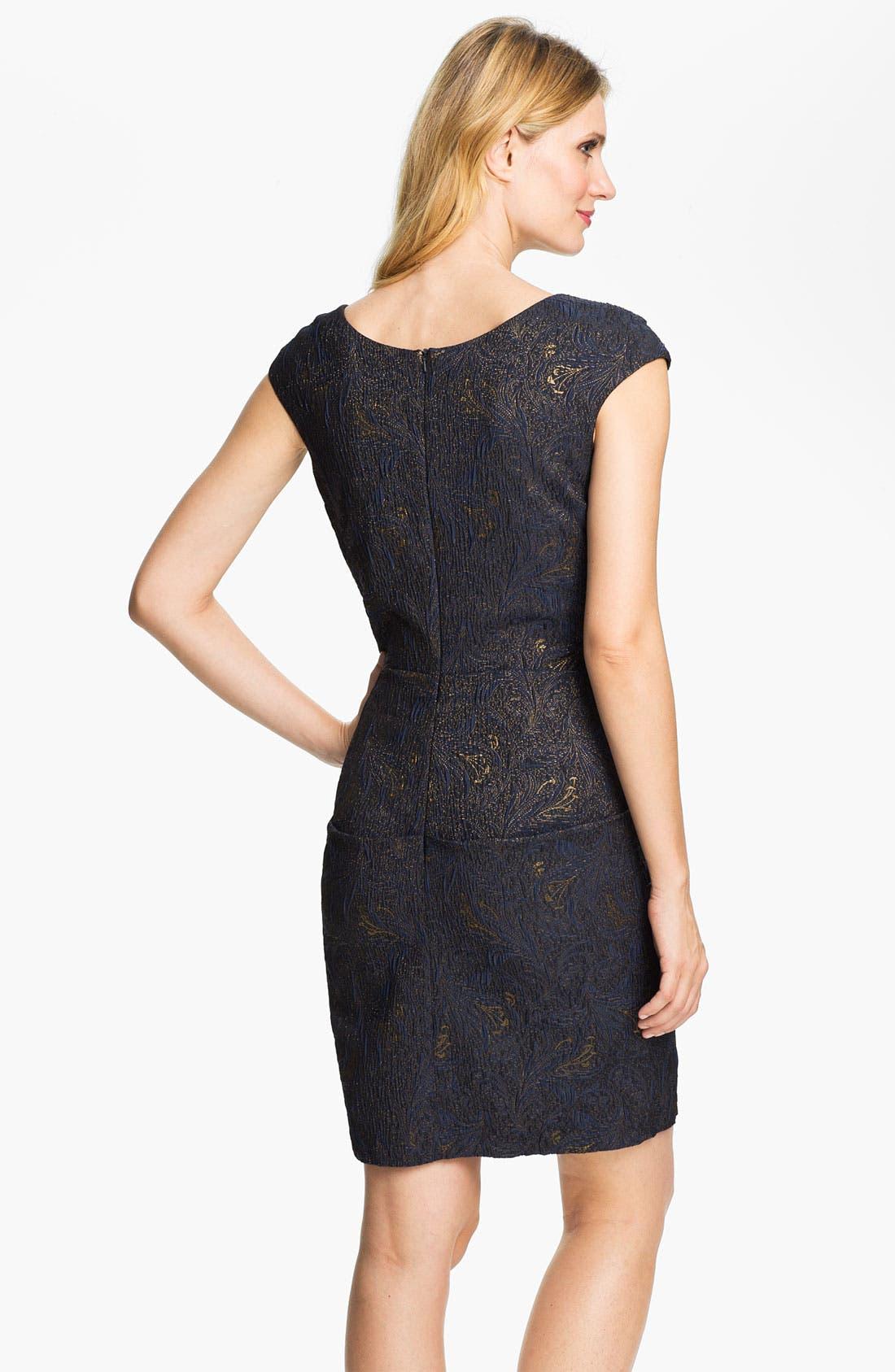Alternate Image 2  - Alex Evenings Ruched Textured Sheath Dress (Petite)