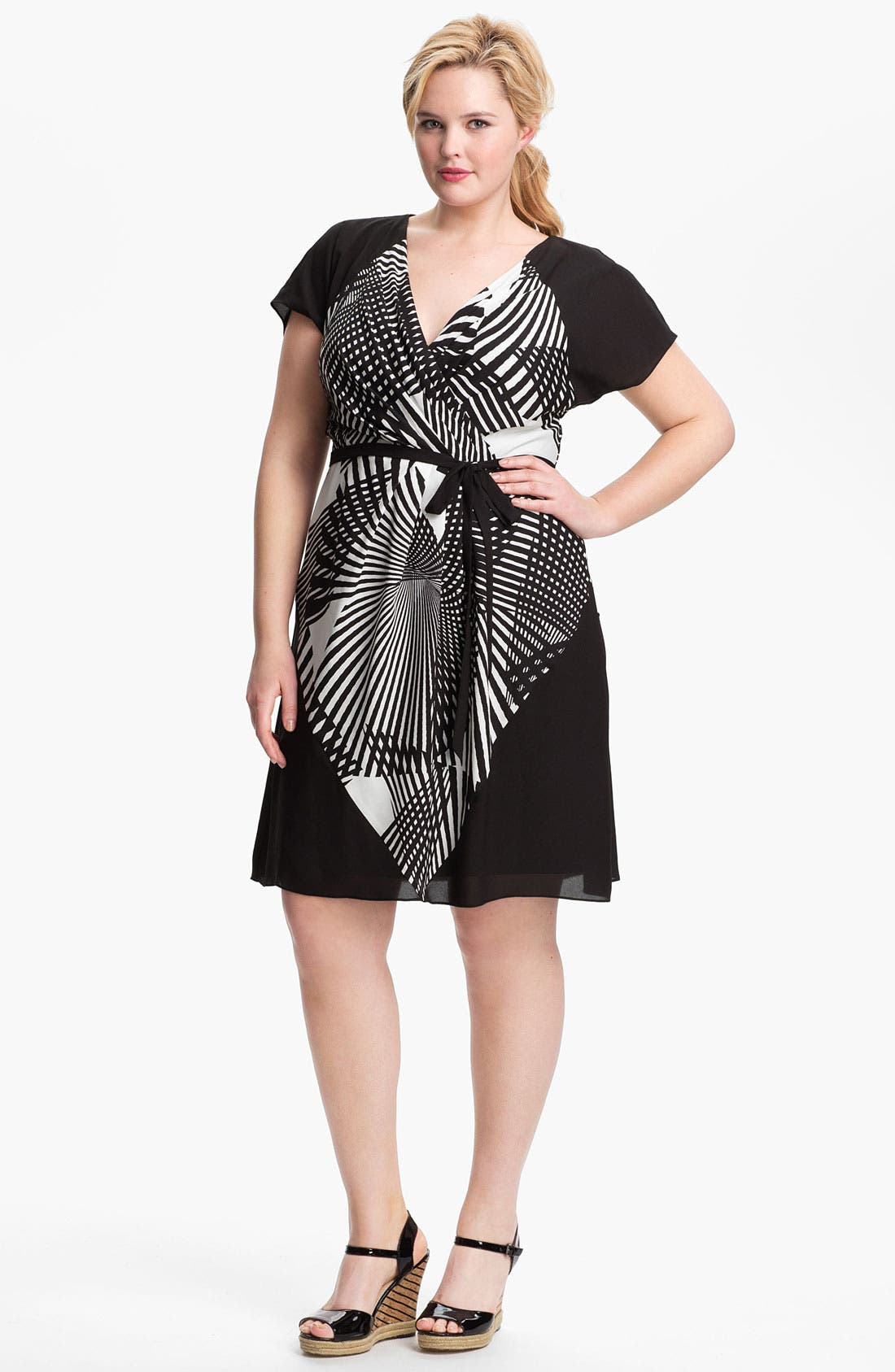Alternate Image 1 Selected - Adrianna Papell Colorblock Print Faux Wrap Dress (Plus Size) (Online Only)