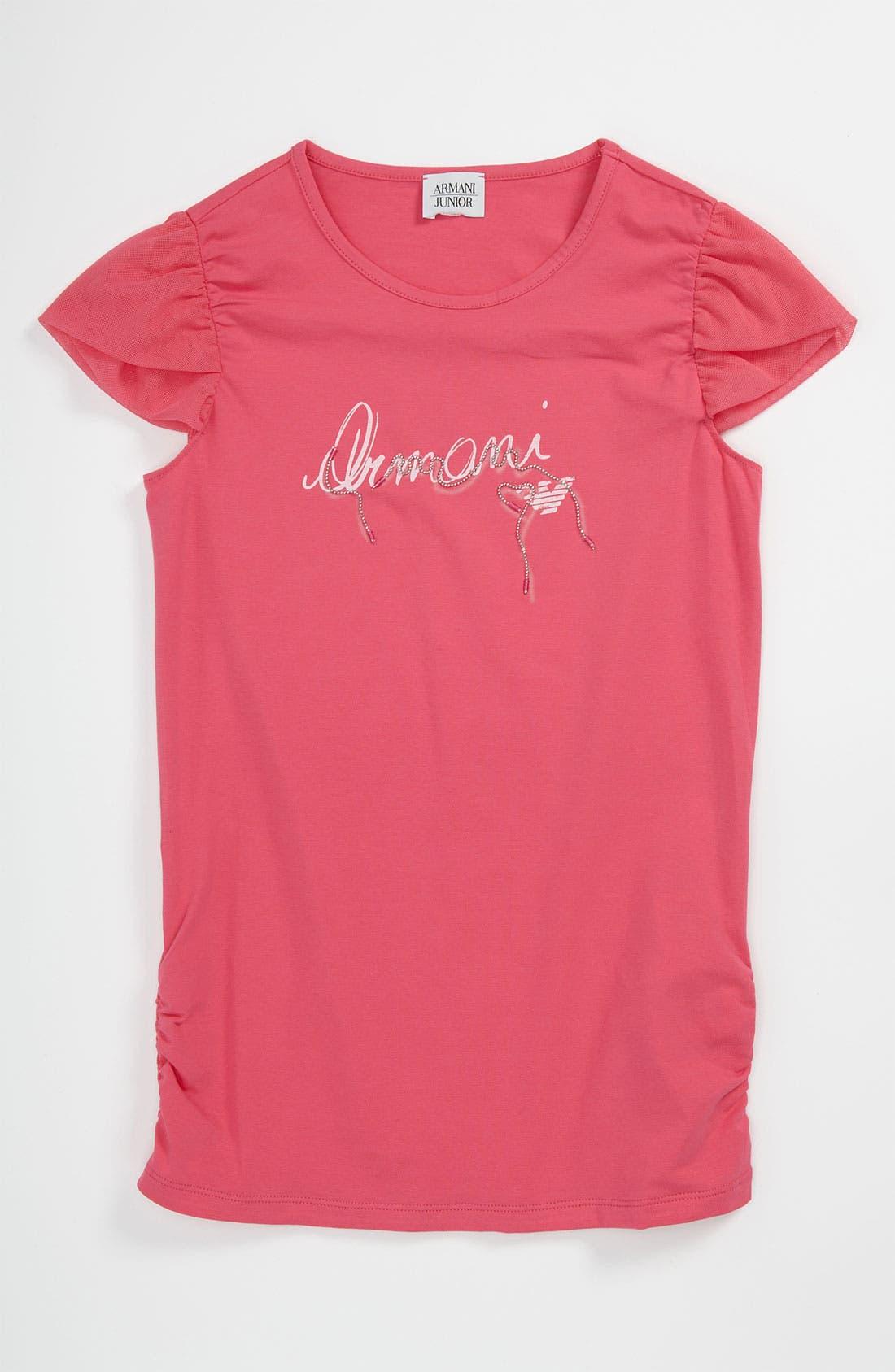 Main Image - Armani Junior Logo Tee (Big Girls)
