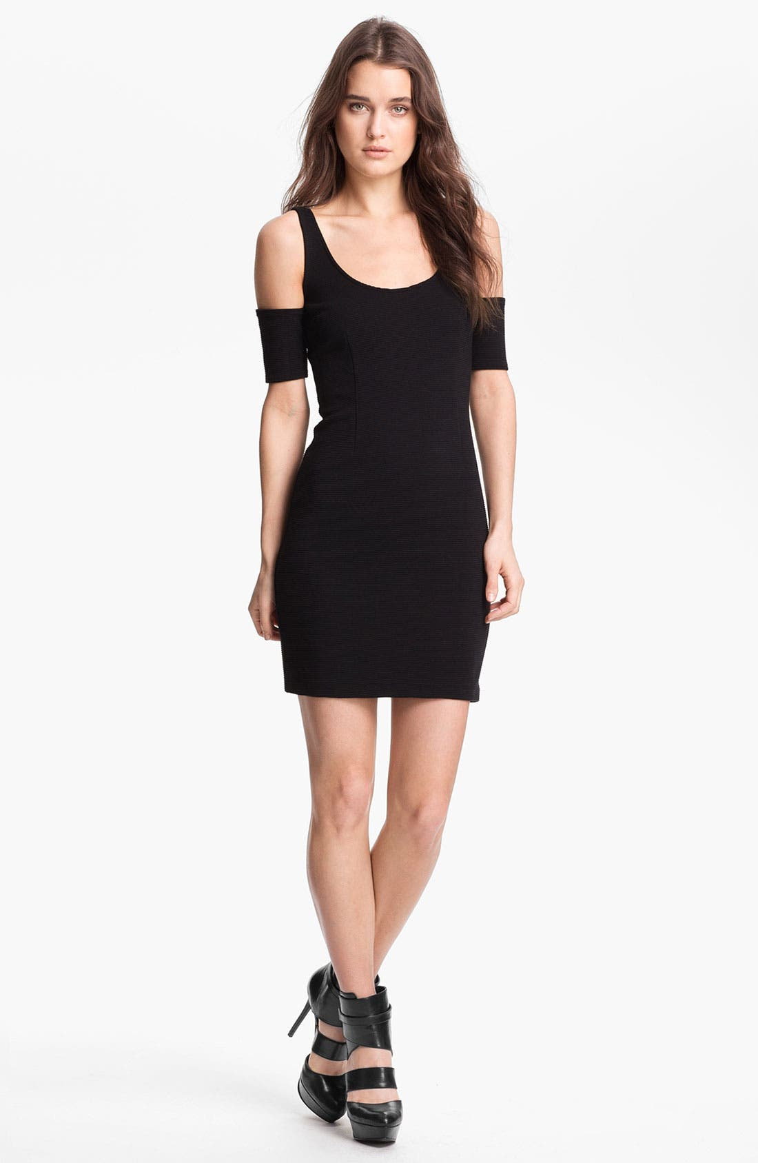Main Image - BB Dakota Sleeve Detail Ribbed Ponte Minidress