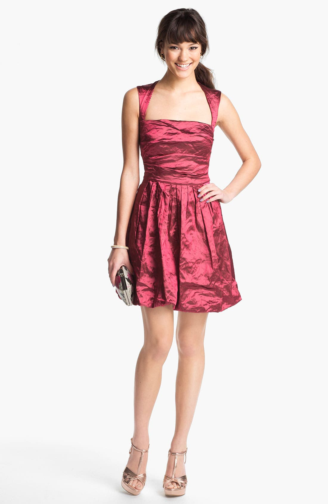 Main Image - Nicole Miller Techno Metal Fit & Flare Dress