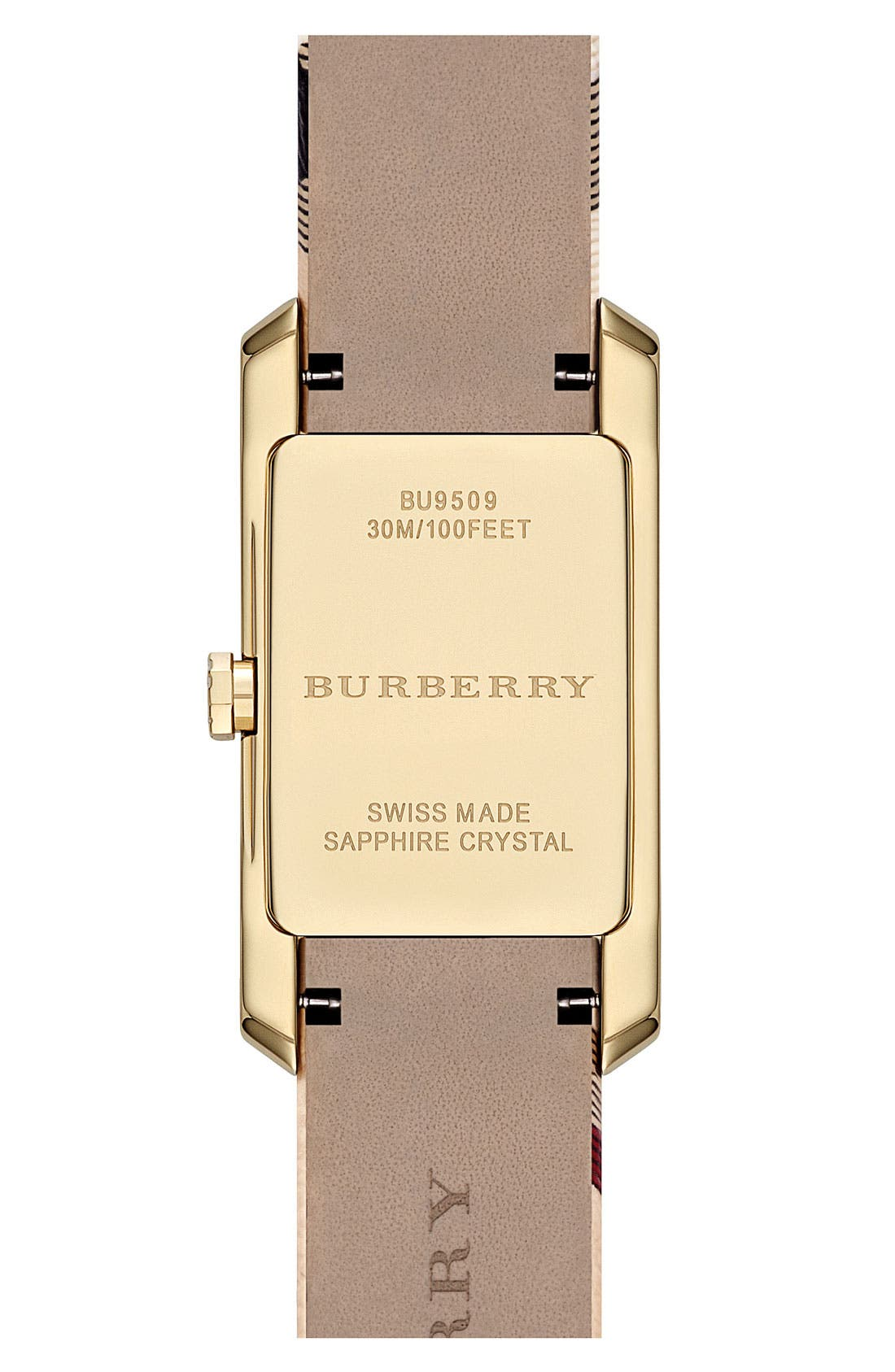 Alternate Image 2  - Burberry Rectangular Check Strap Watch, 20mm x 26mm
