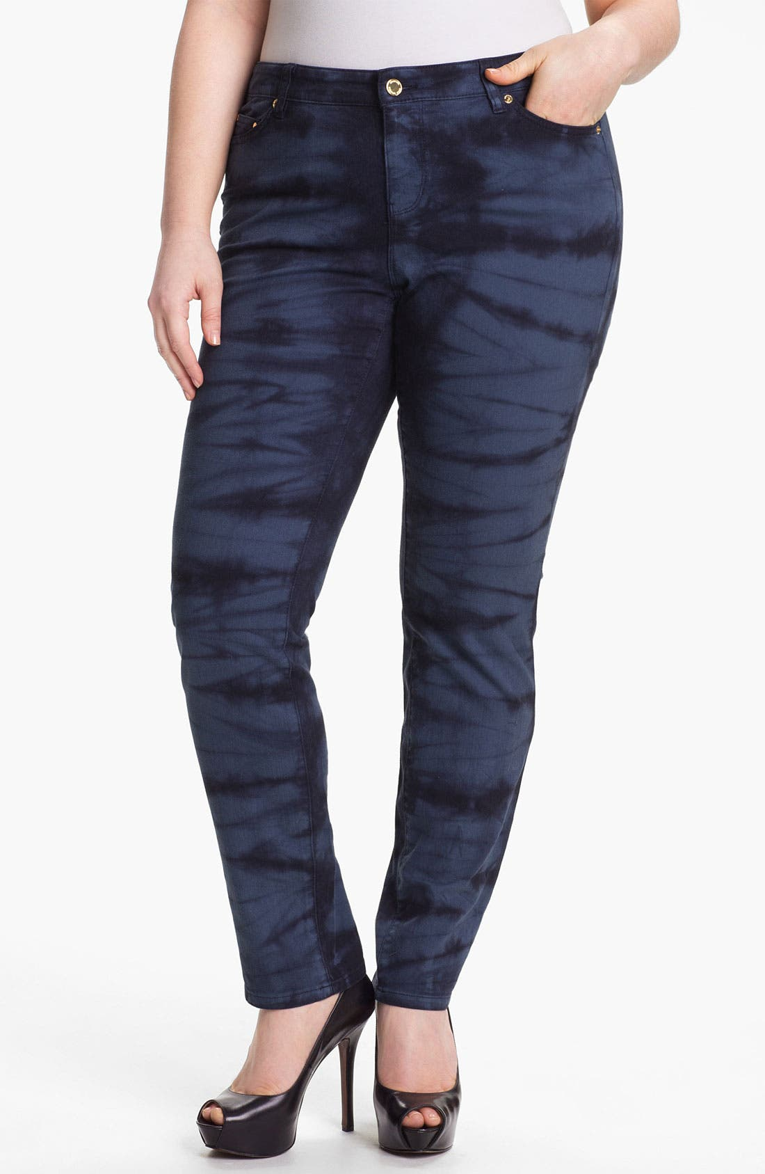 Alternate Image 1 Selected - MICHAEL Michael Kors Print Skinny Jeans (Plus) (Online Only)