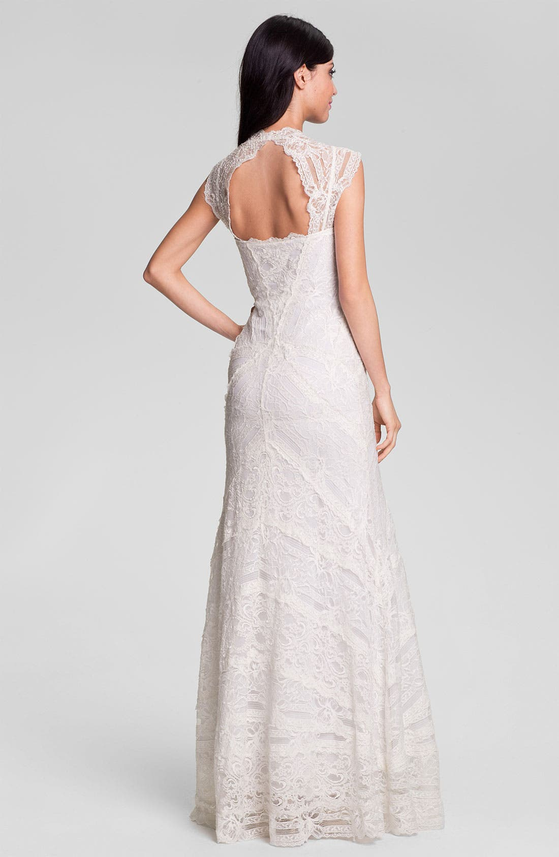 Alternate Image 2  - Nicole Miller 'Aneka' Cap Sleeve Lace Gown