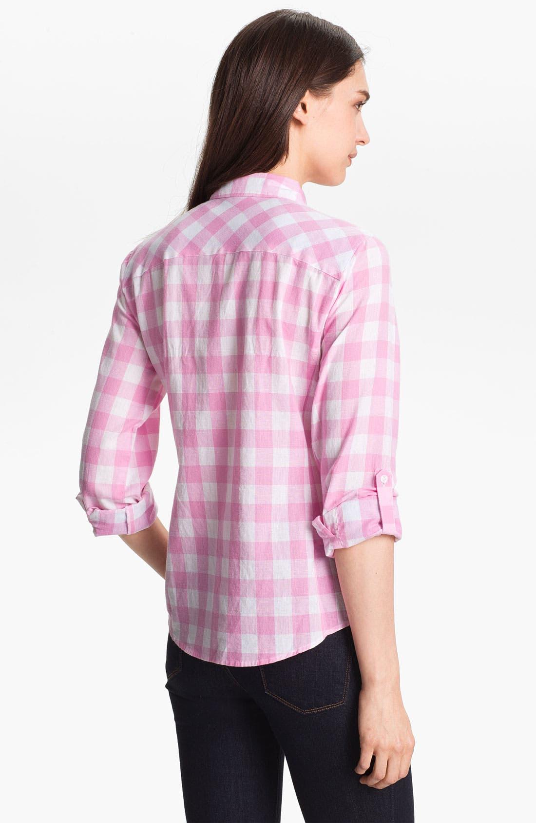 Alternate Image 2  - Sandra Ingrish Roll Sleeve Check Shirt (Petite)