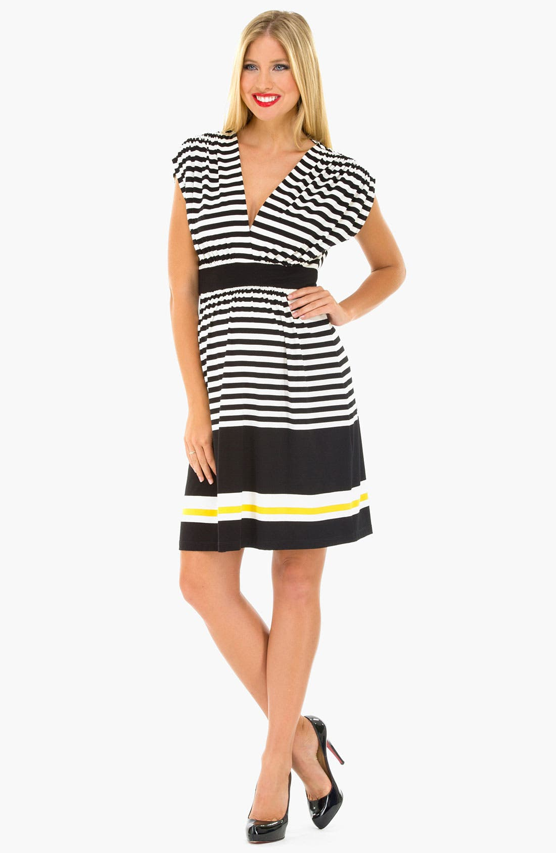 Main Image - Olian Maternity Kimono Stripe Dress