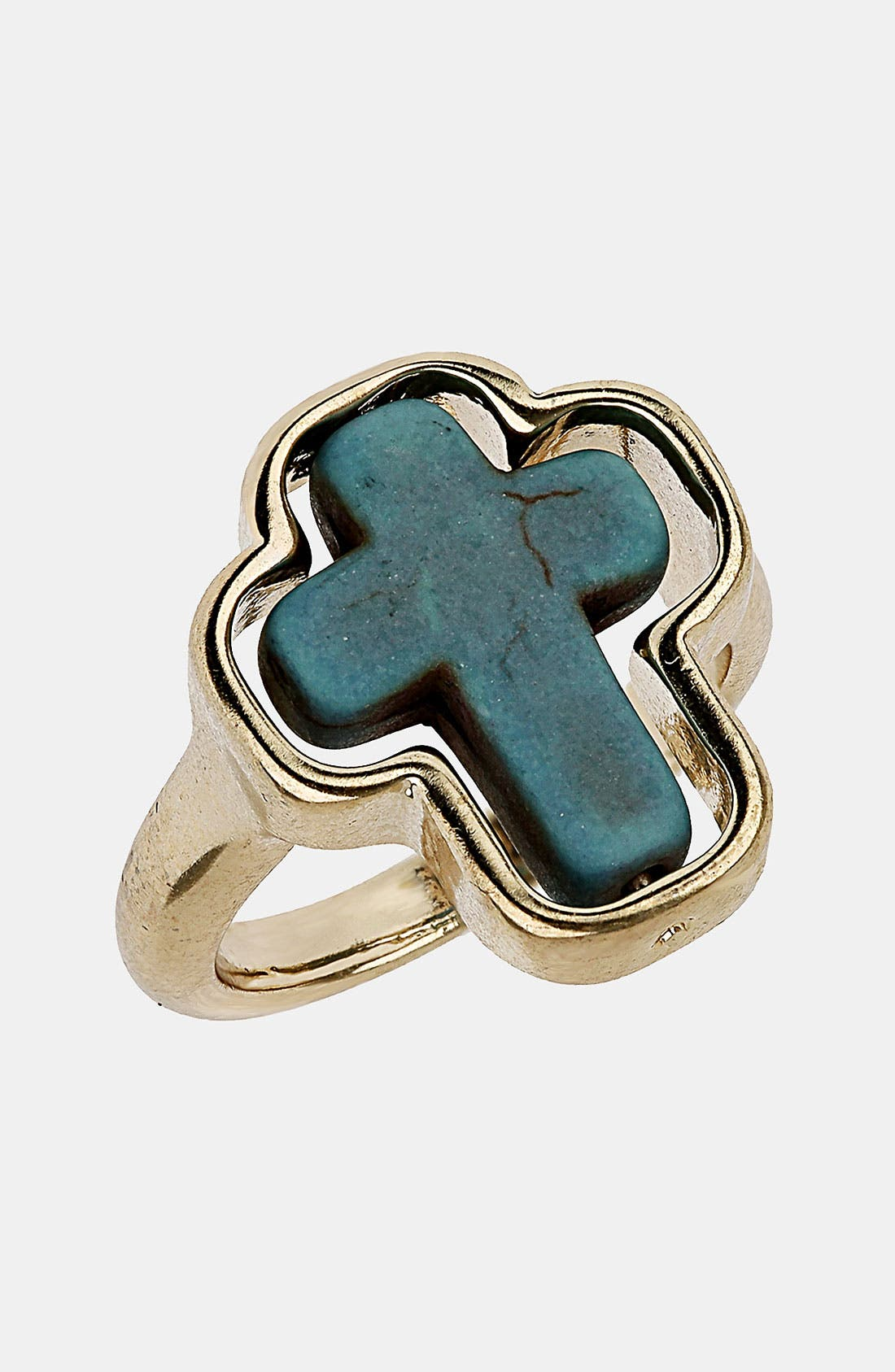Alternate Image 1 Selected - Topshop Turquoise Cross Ring