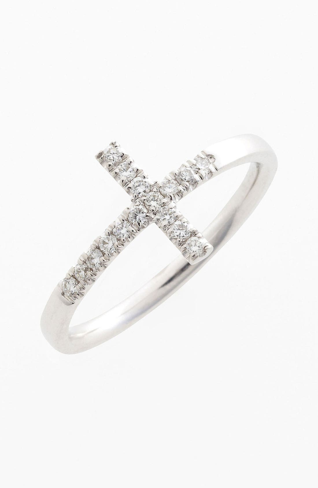 Main Image - Bony Levy Stackable Diamond Cross Ring (Nordstrom Exclusive)