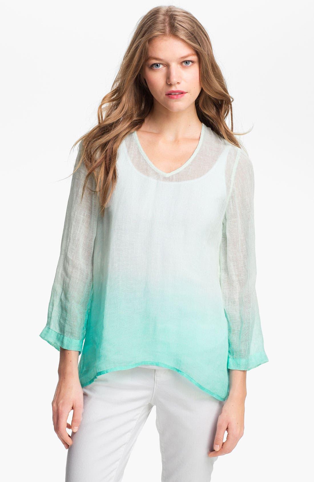 Alternate Image 1 Selected - Eileen Fisher Dip Dye Linen Tunic