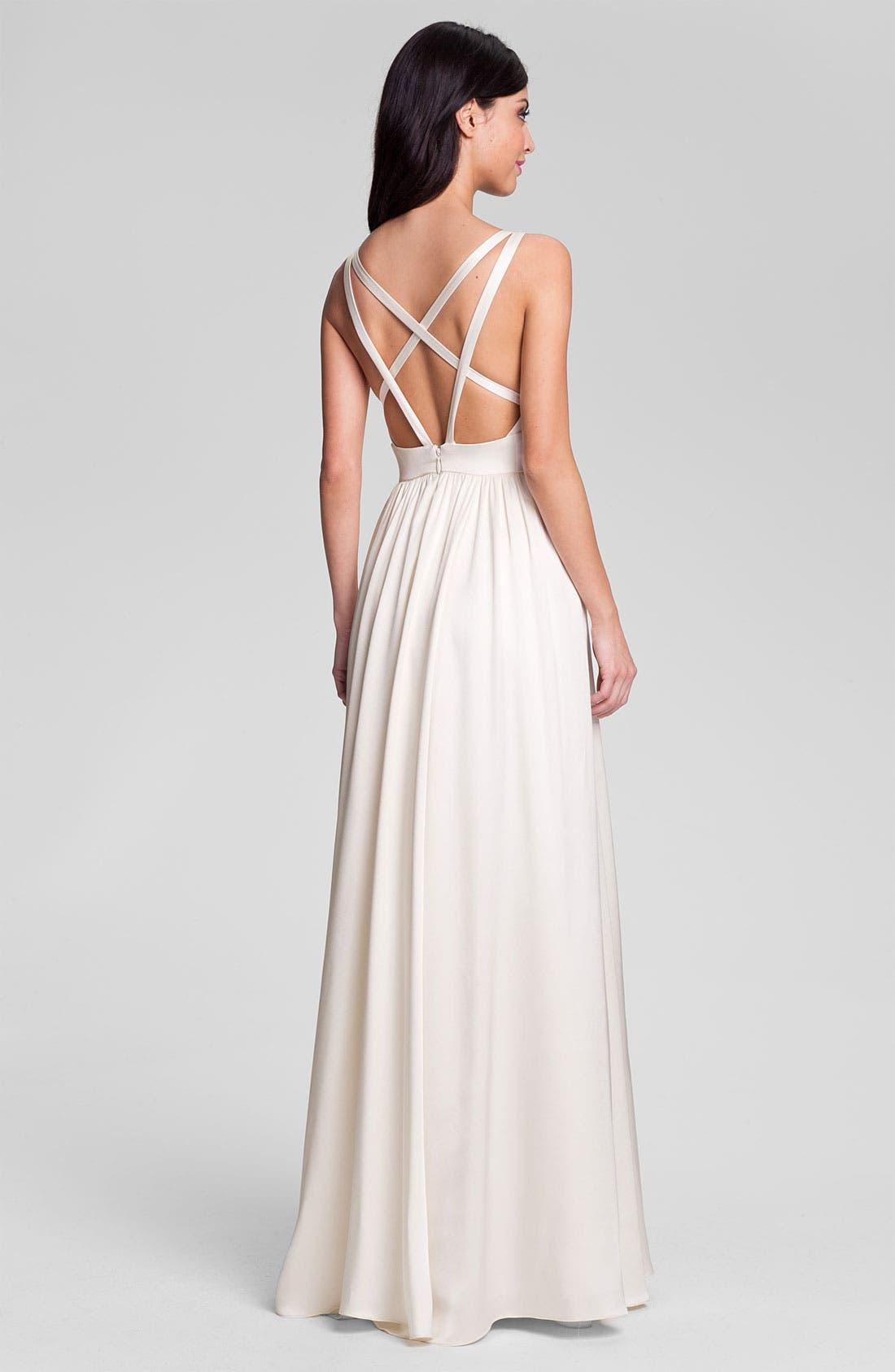 Alternate Image 2  - Nicole Miller 'Elizabeth' Crisscrossed Back Silk A-Line Gown