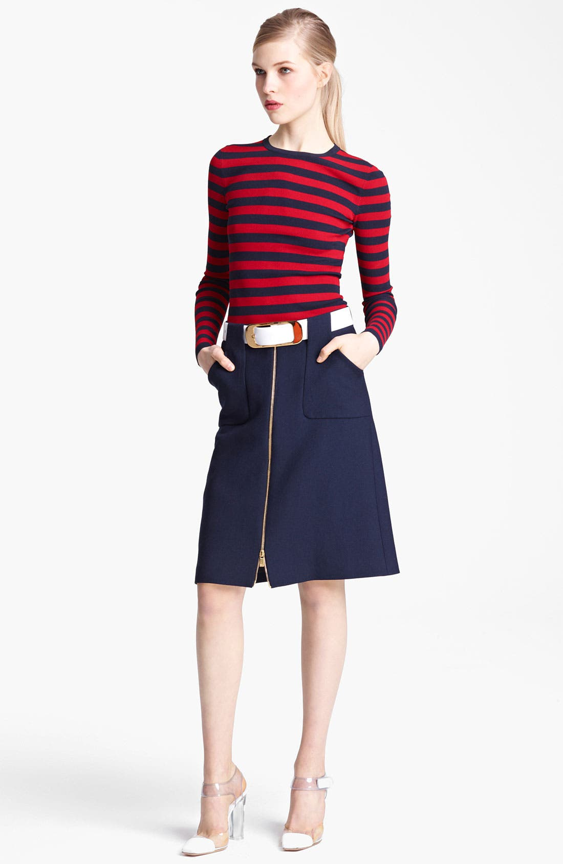 Alternate Image 1 Selected - Michael Kors Stripe Matte Jersey Top