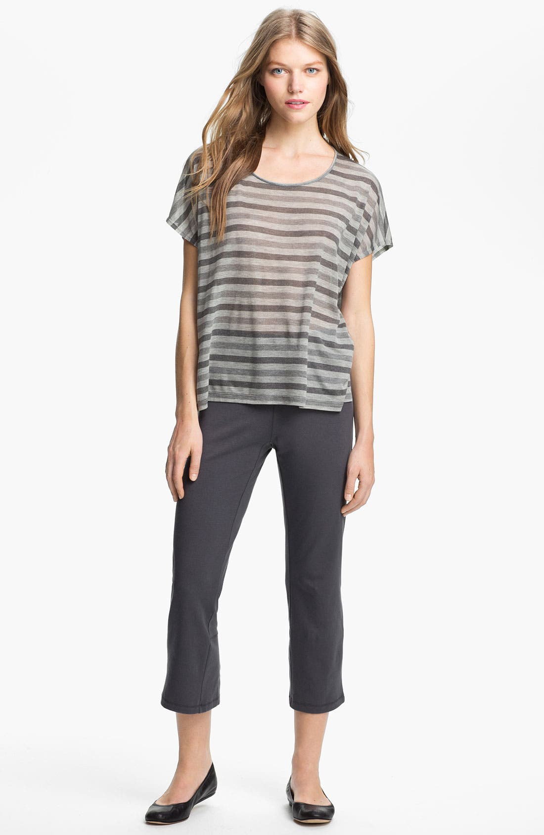 Alternate Image 3  - Eileen Fisher Scoop Neck Stripe Top