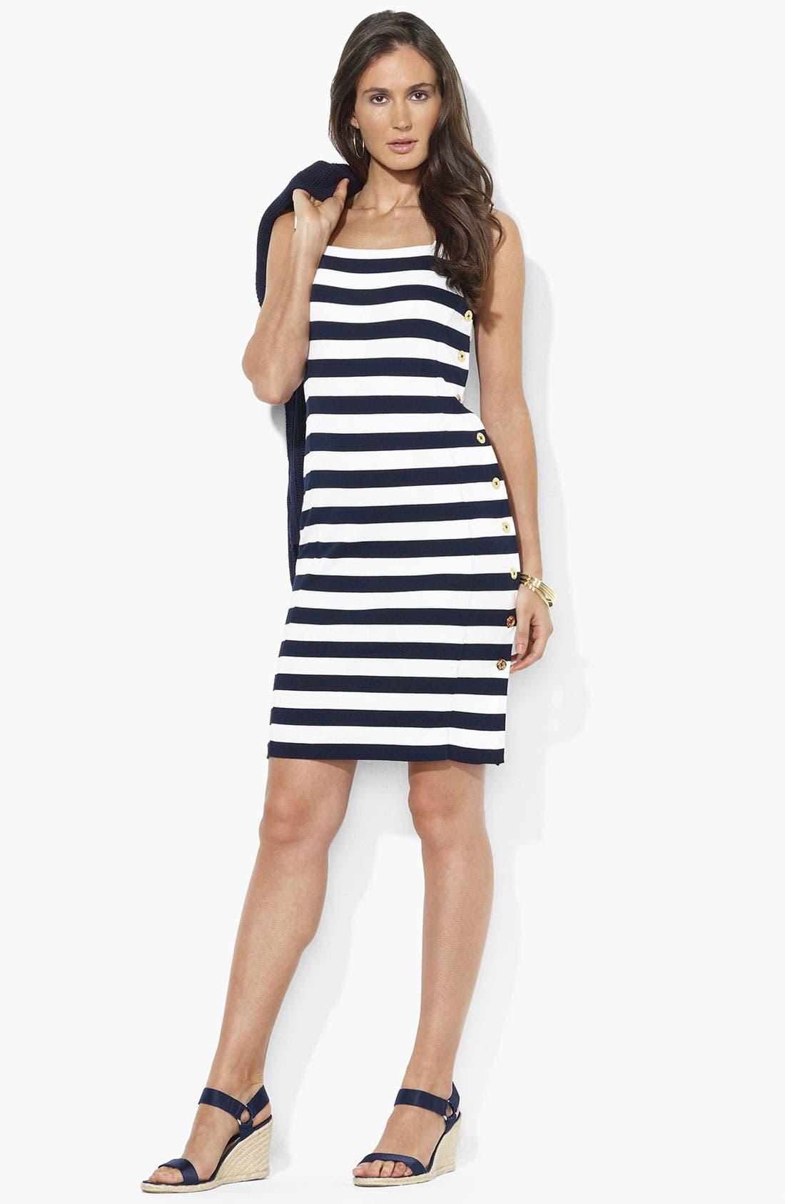 Main Image - Lauren Ralph Lauren Square Neck Side Button Dress