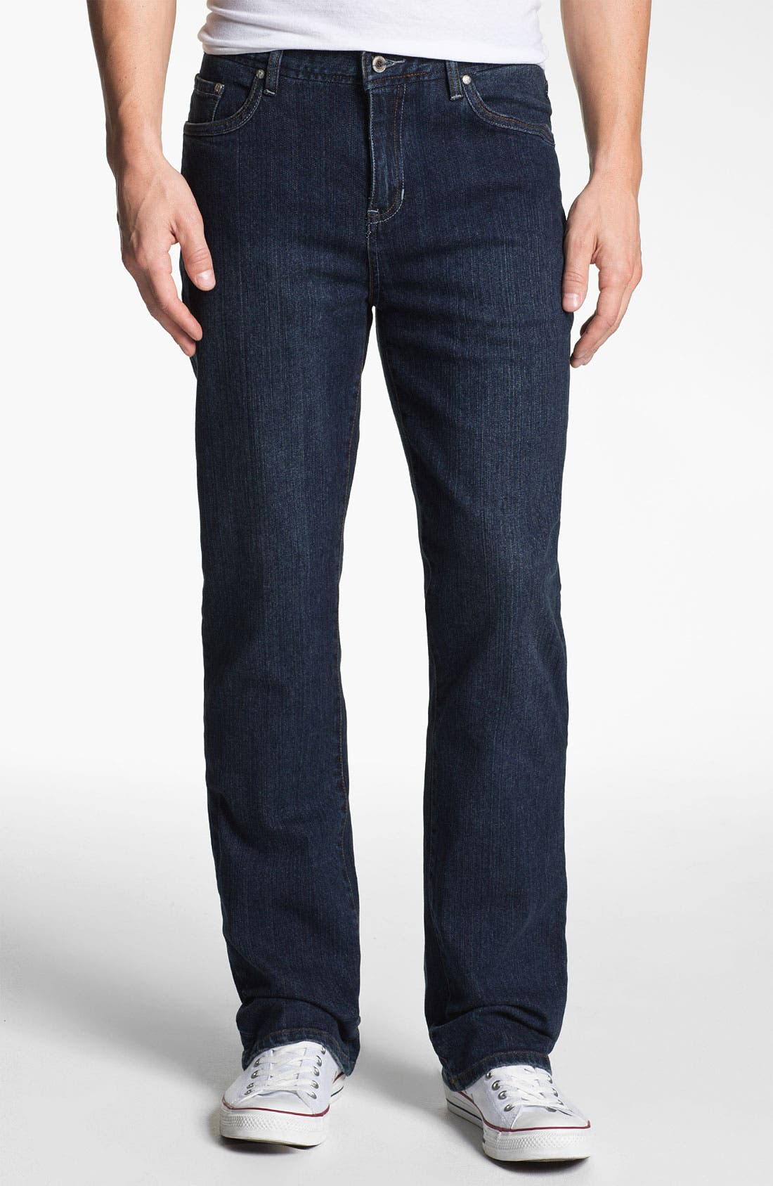 Main Image - ROAD 'Abbey Stretch' Relaxed Fit Straight Leg Jeans (Dark Wash)