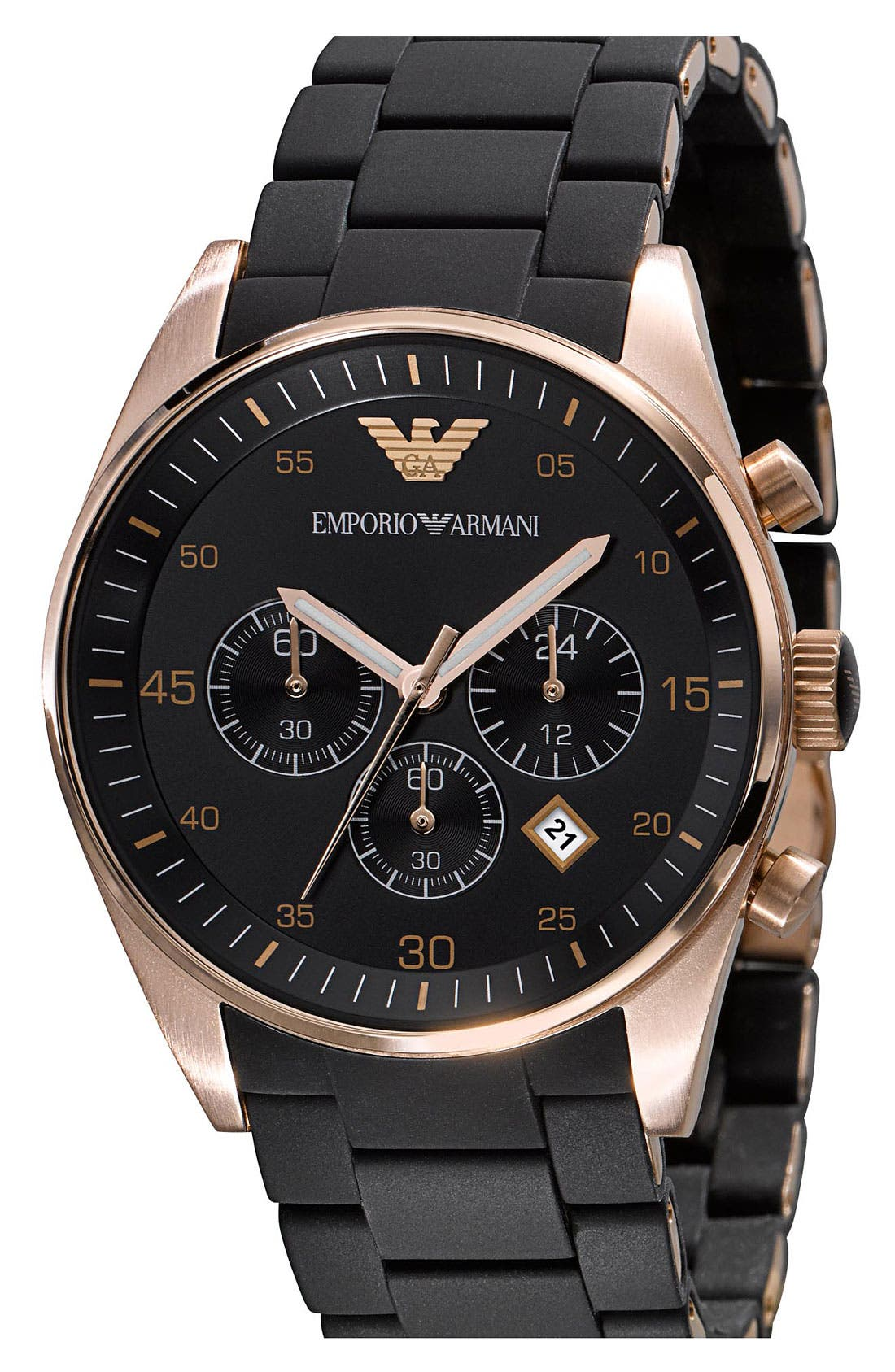 Alternate Image 2  - Emporio Armani Rose Gold Plated Silicone Strap Watch, 43mm
