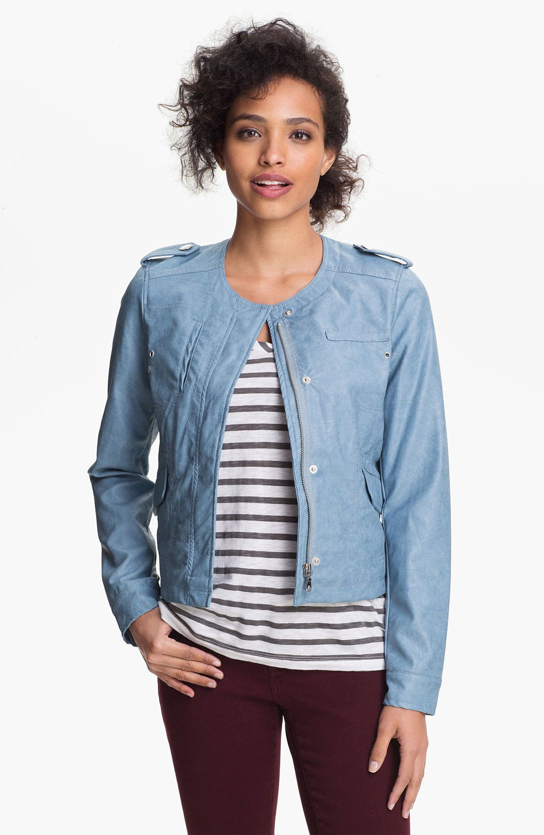 Main Image - DKNY Collarless Faux Leather Scuba Jacket (Online Only)