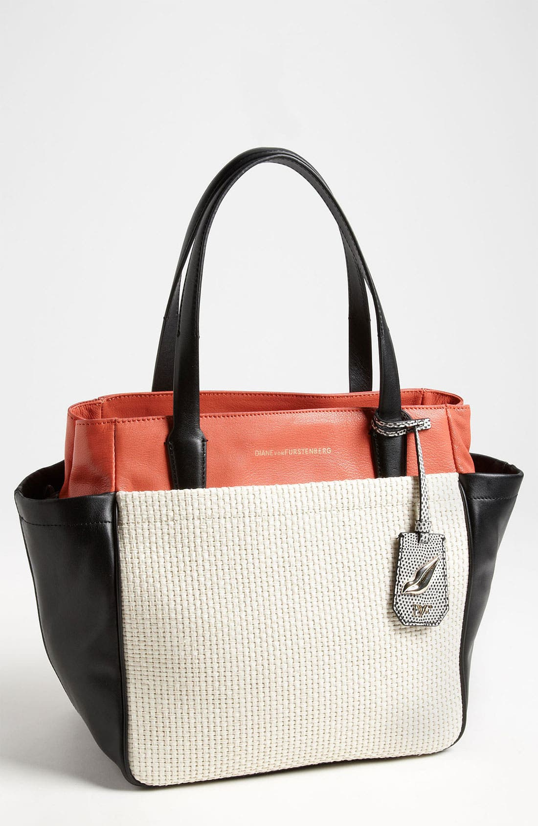 Main Image - Diane von Furstenberg 'On the Go' Leather & Straw Tote