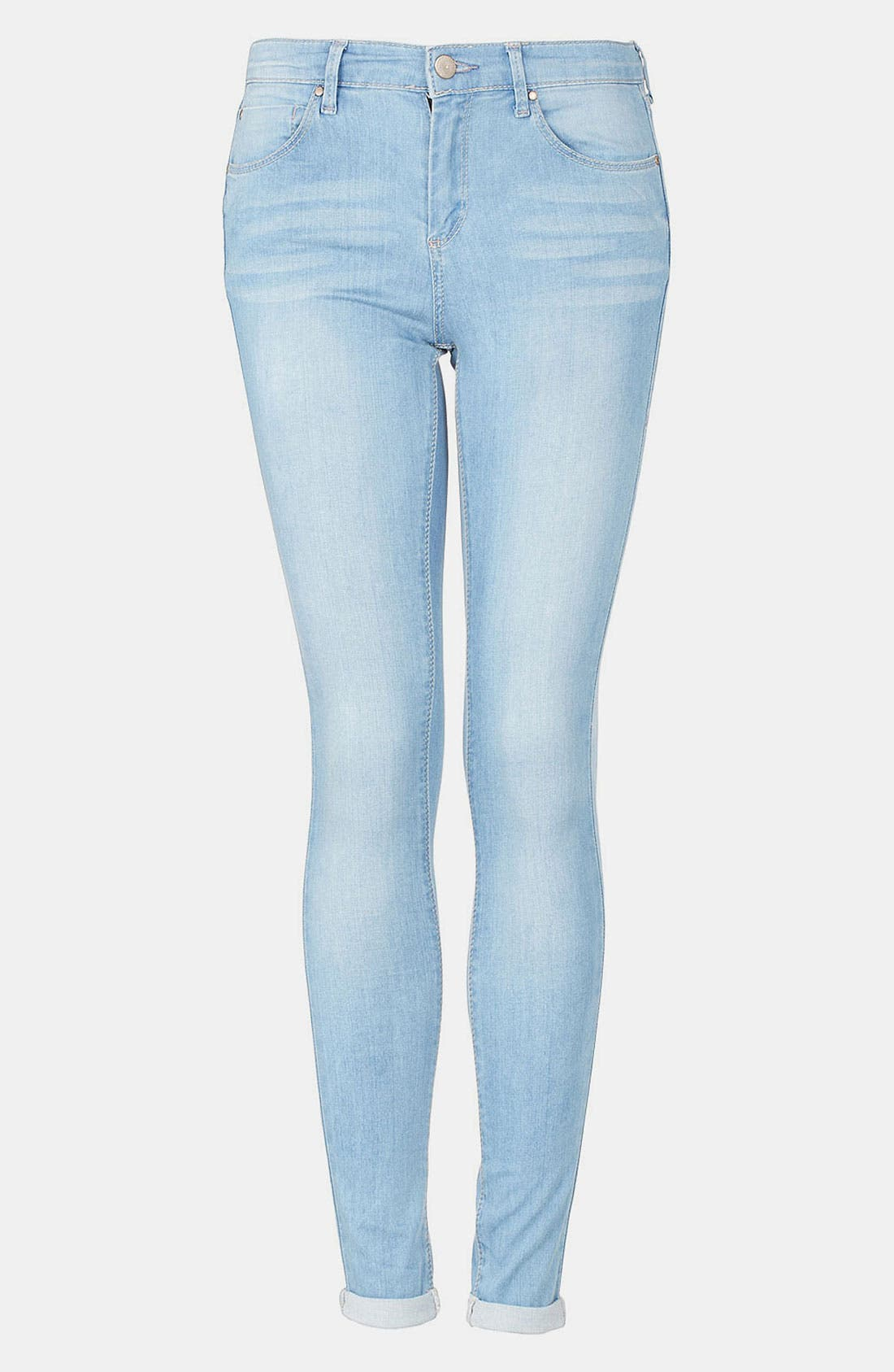 Main Image - Topshop Moto 'Leigh' Bleach Wash Skinny Jeans (Long)