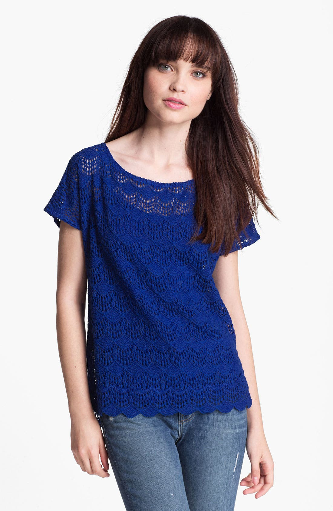 Alternate Image 1 Selected - Ella Moss Scalloped Lace Top