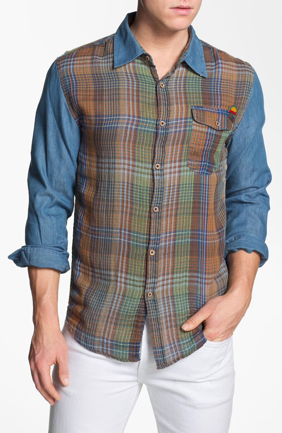 Alternate Image 1 Selected - Insight 'Luna Chant' Check Panel Woven Shirt