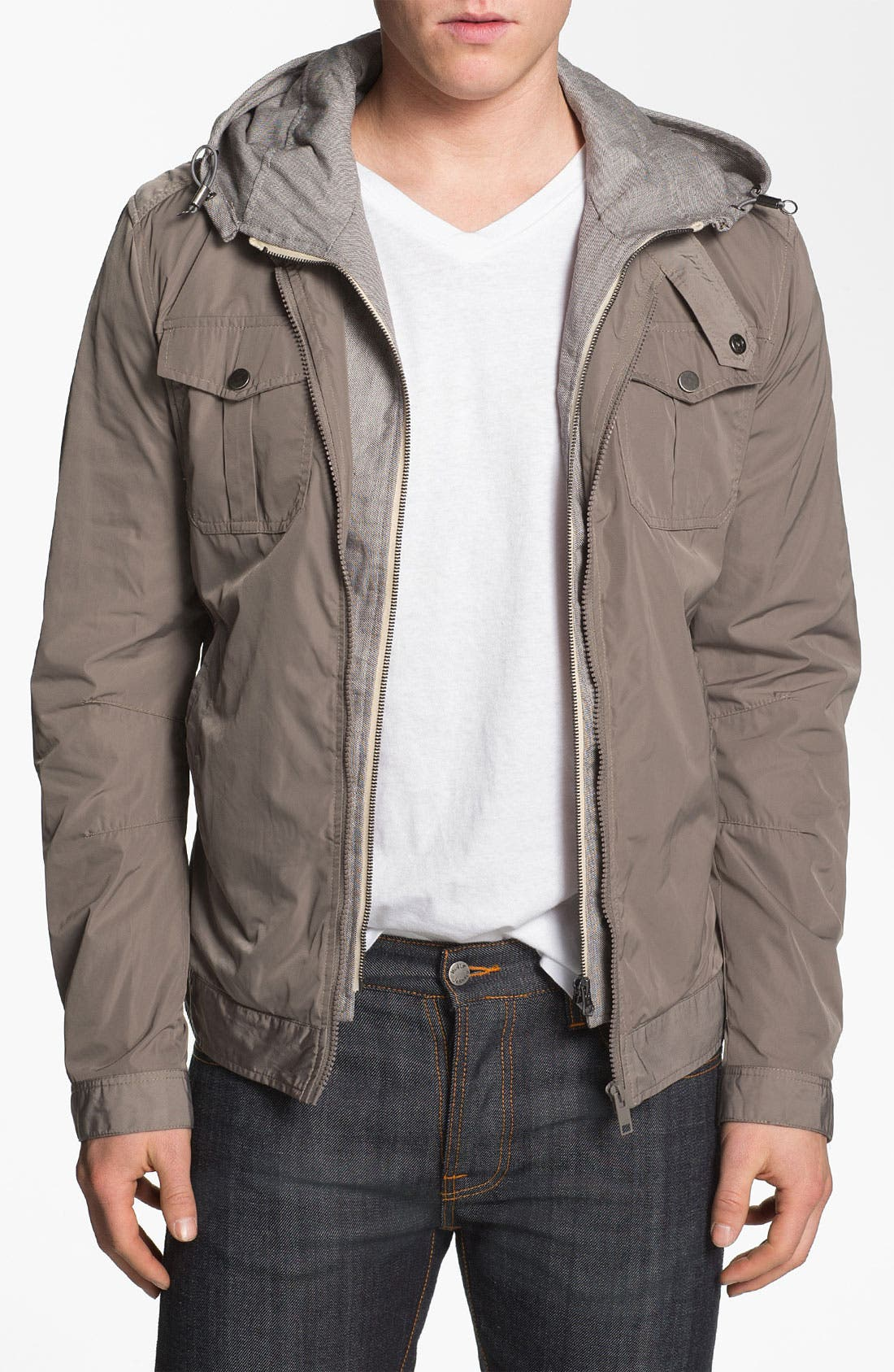 Alternate Image 1 Selected - Antony Morato Moto Jacket with Removable Hooded Front Lining