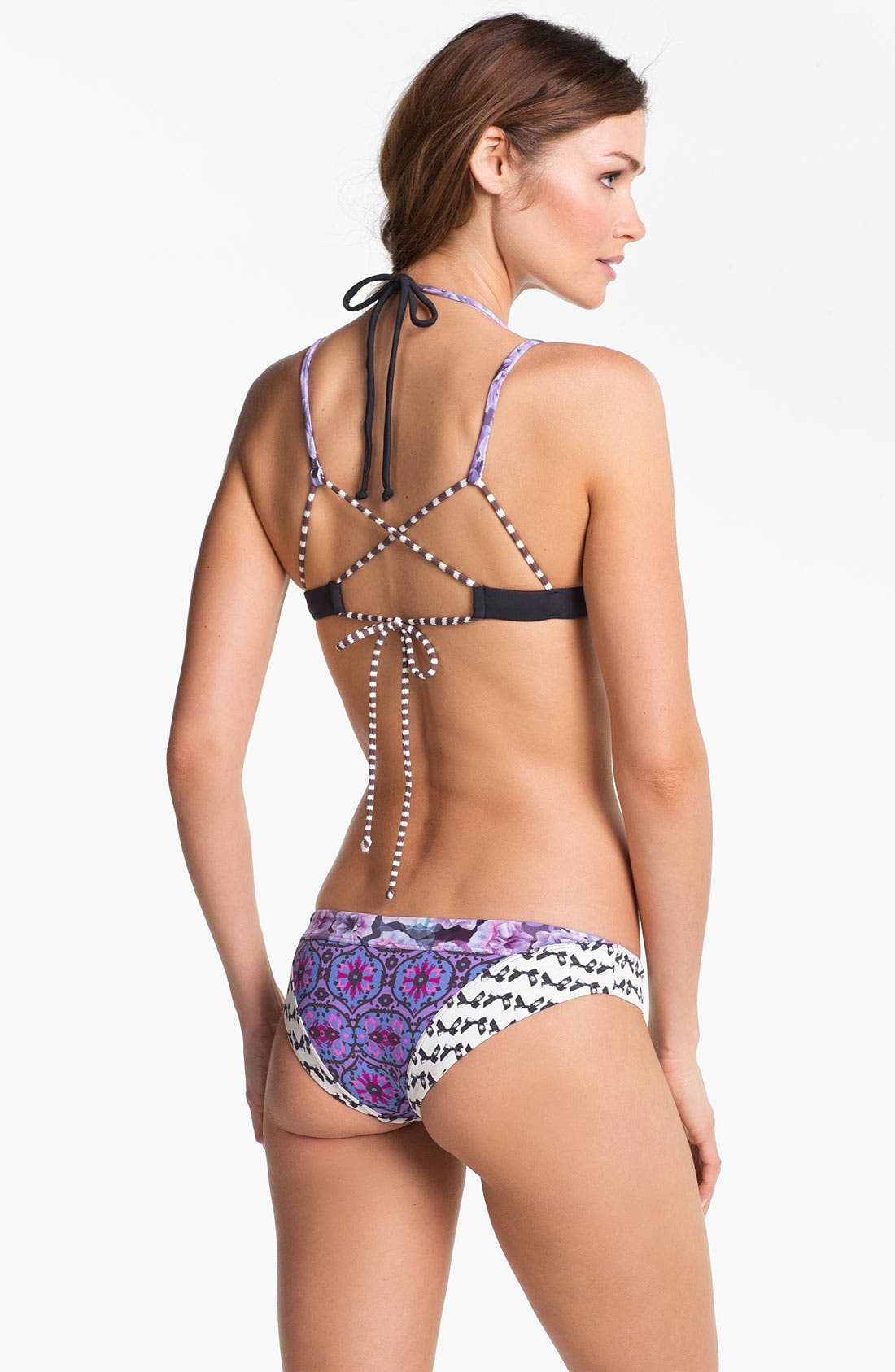 "Alternate Image 4  - Maaji 'Violet Posies"" Cross Back Bikini Top"