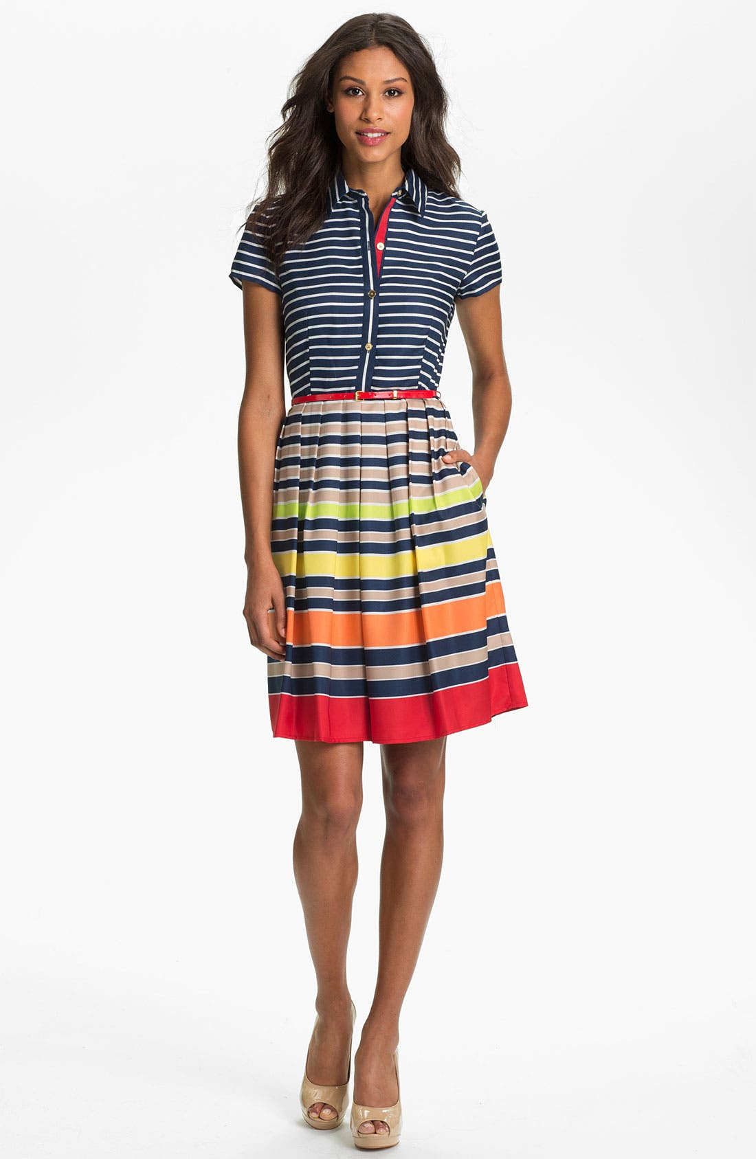 Alternate Image 1 Selected - Ellen Tracy Stripe Twill Shirtdress