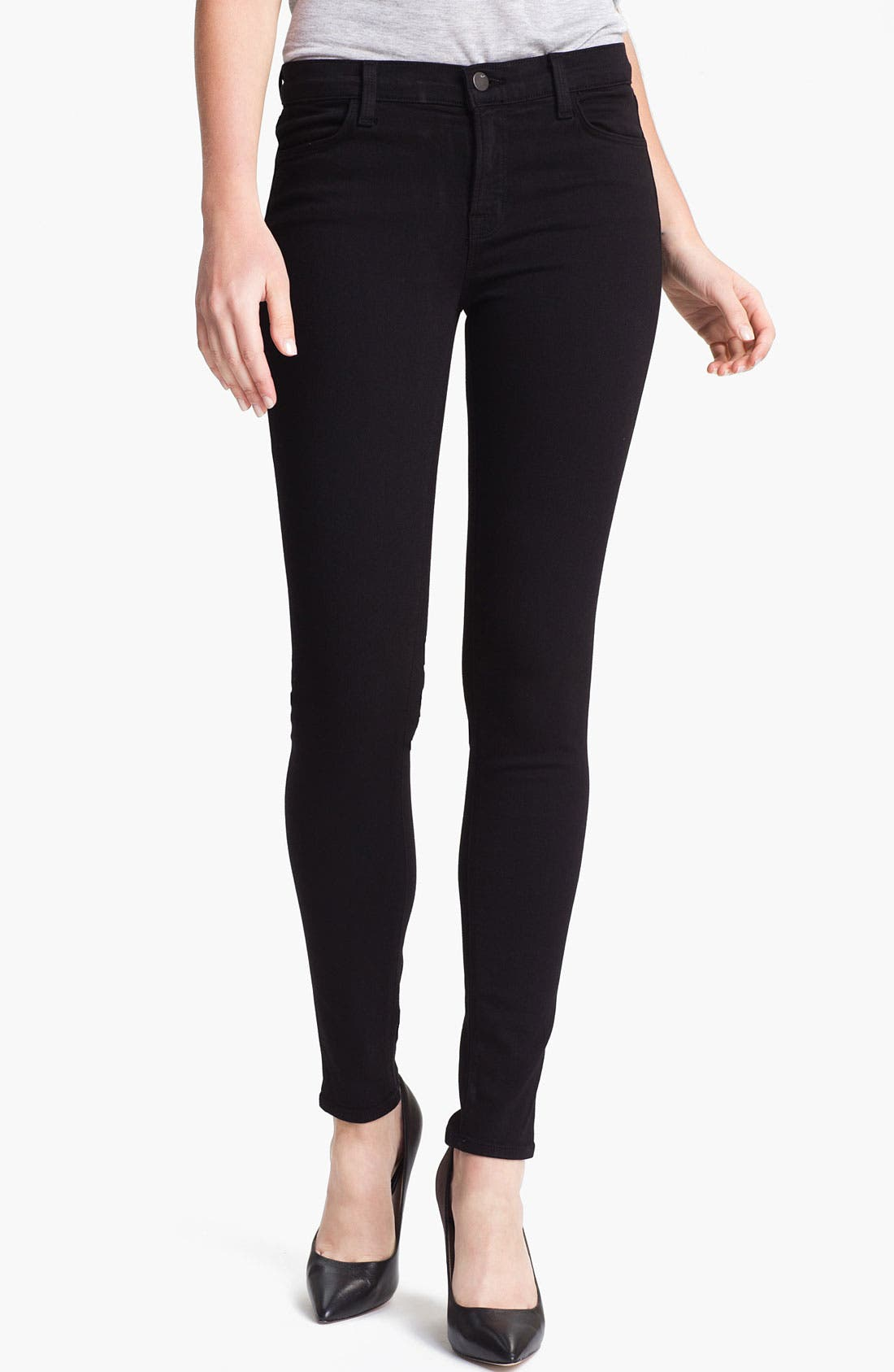 Alternate Image 1 Selected - J Brand Super Skinny Stretch Jeans (Black)