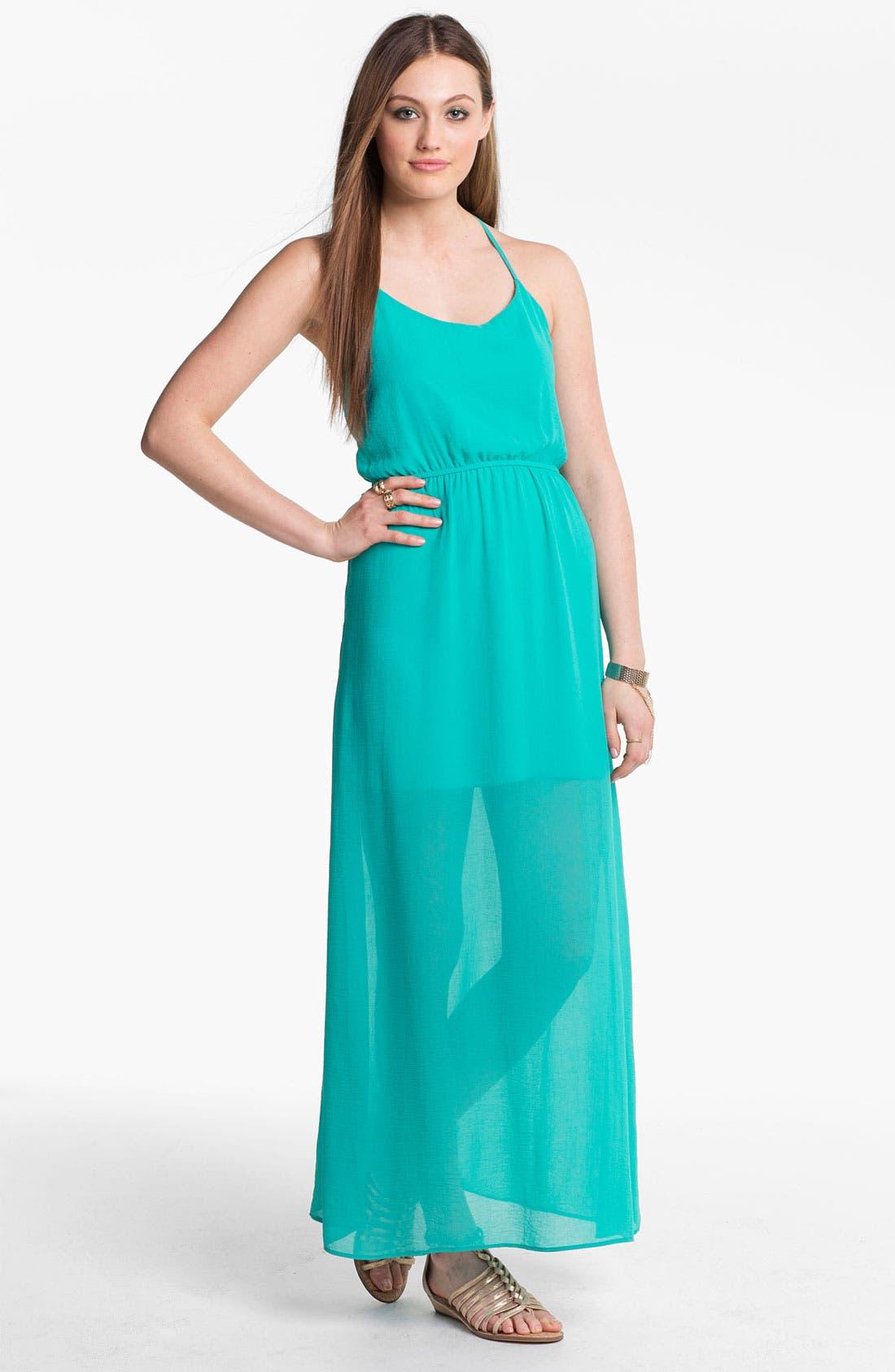 Alternate Image 2  - dee elle Half Sheer Cutout Maxi Dress (Juniors)