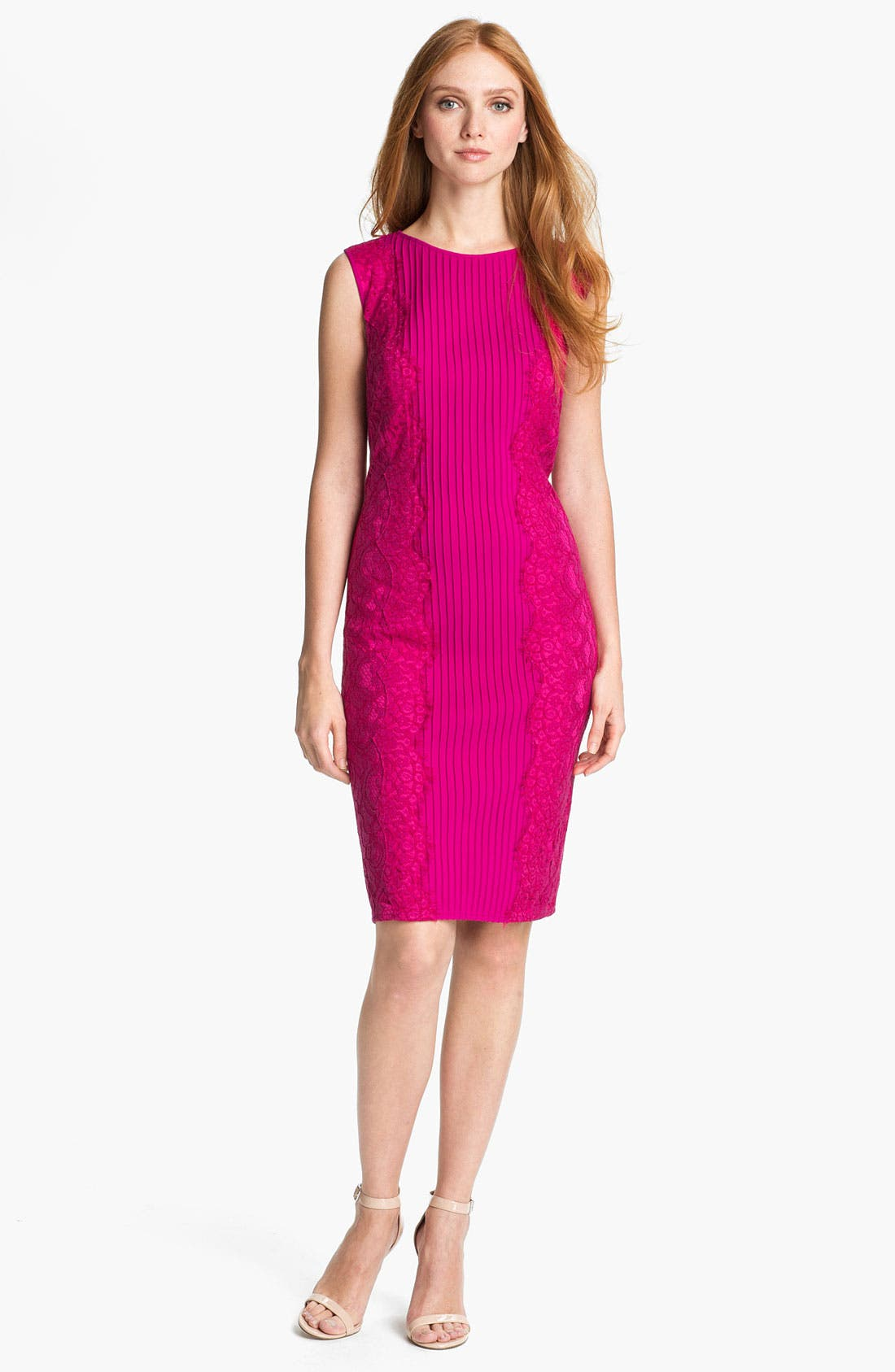 Main Image - Tadashi Shoji Lace Blocked Sheath Dress