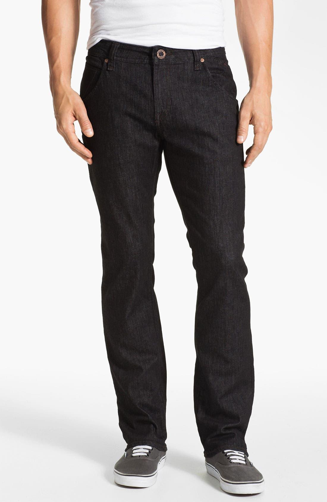 Alternate Image 2  - Volcom 'Nova' Slim Straight Leg Jeans (Black Rinse) (Online Only)