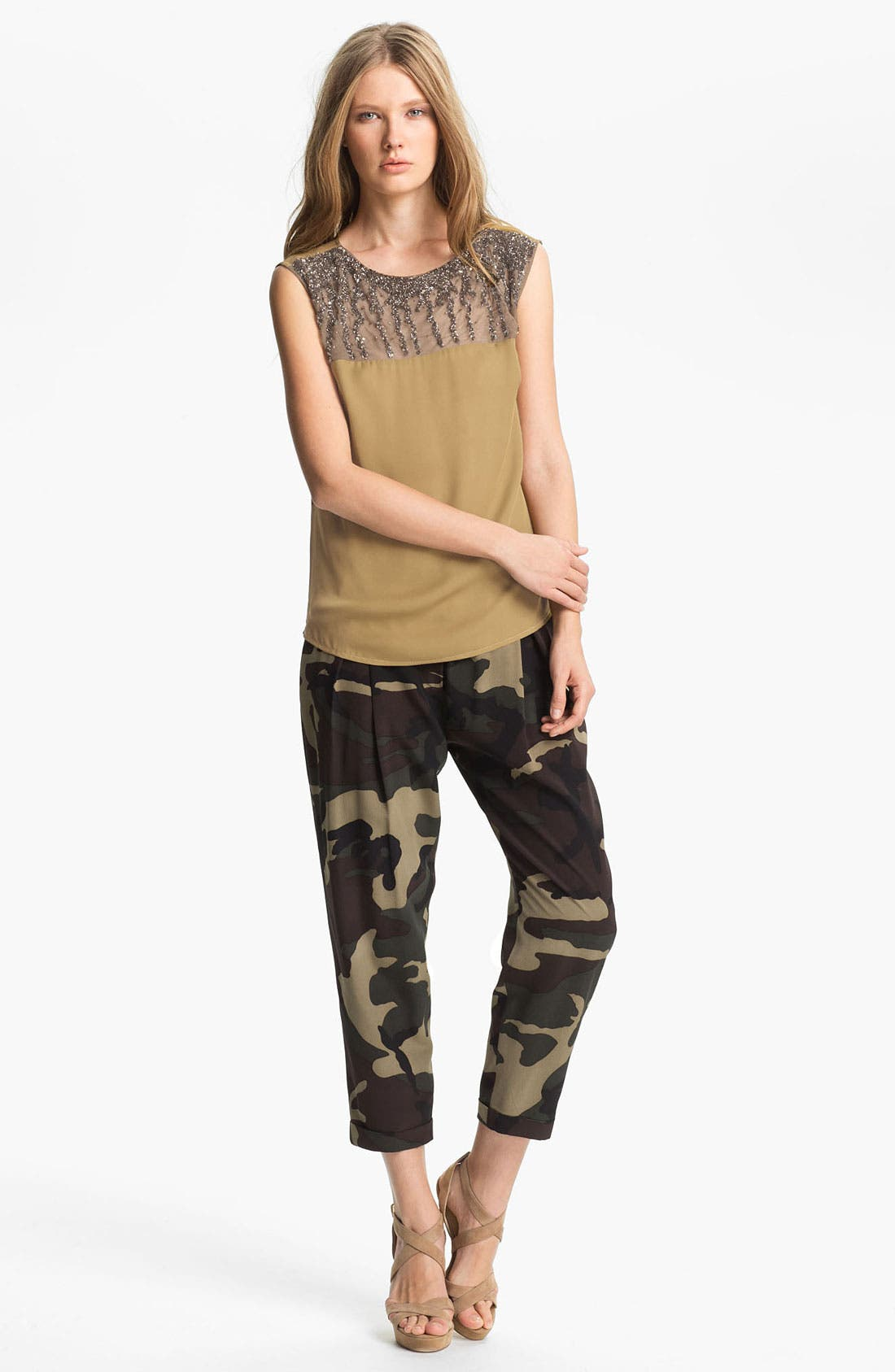 Main Image - Haute Hippie Embellished Yoke Silk Blouse